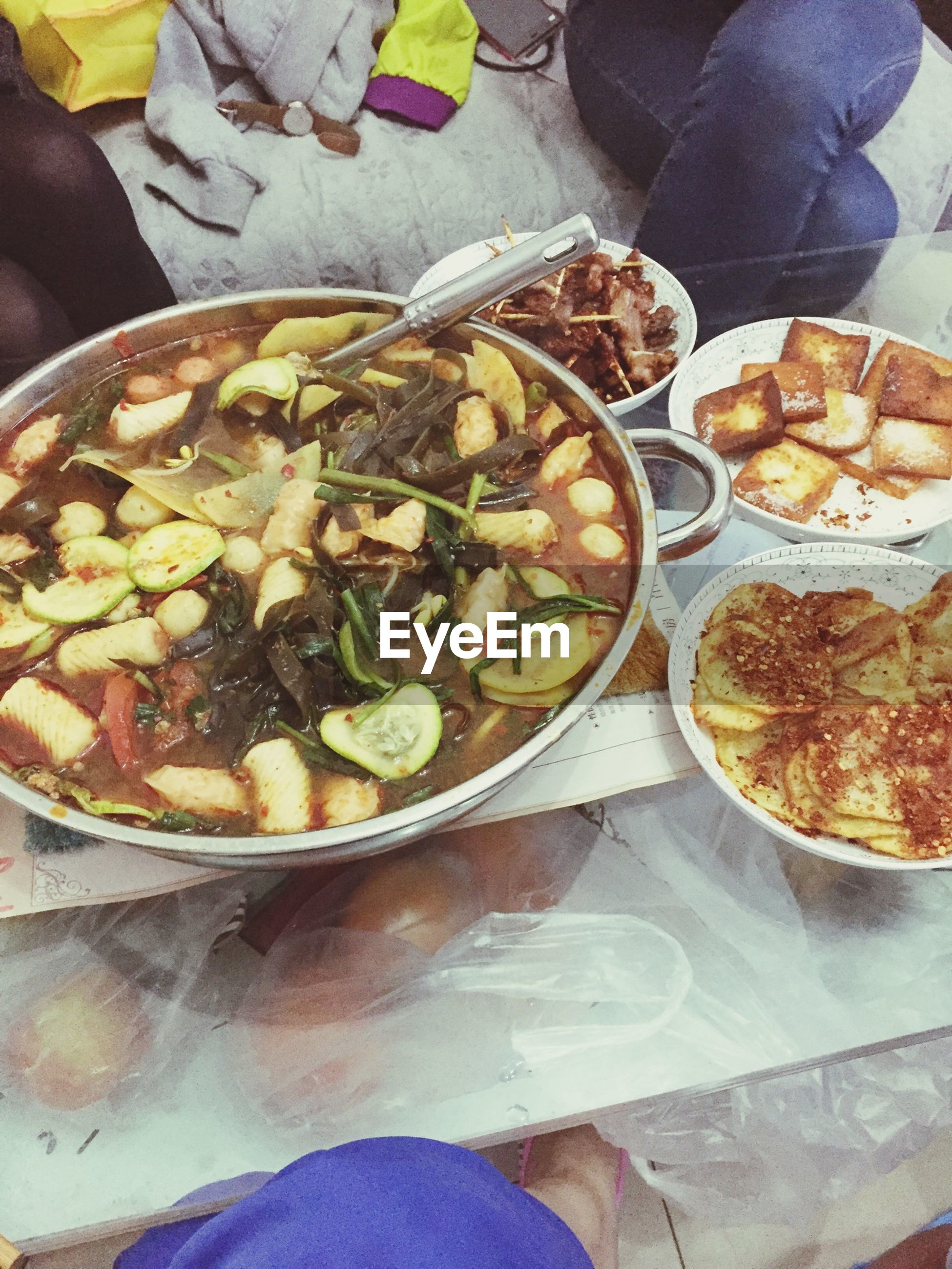 food and drink, food, freshness, indoors, ready-to-eat, healthy eating, high angle view, still life, table, meal, close-up, indulgence, one person, variation, meat, plate, bowl, pizza, vegetable