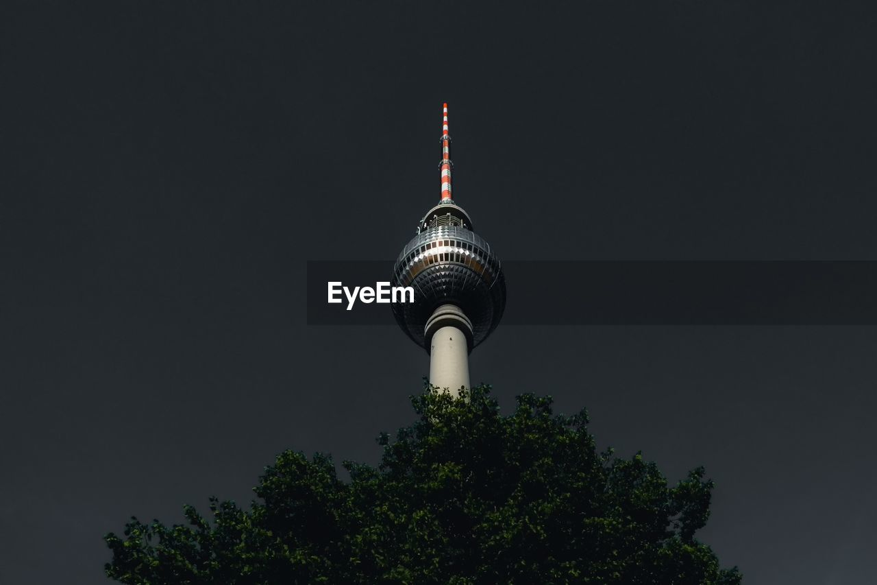Low Angle View Of Fernsehturm Against Sky At Night