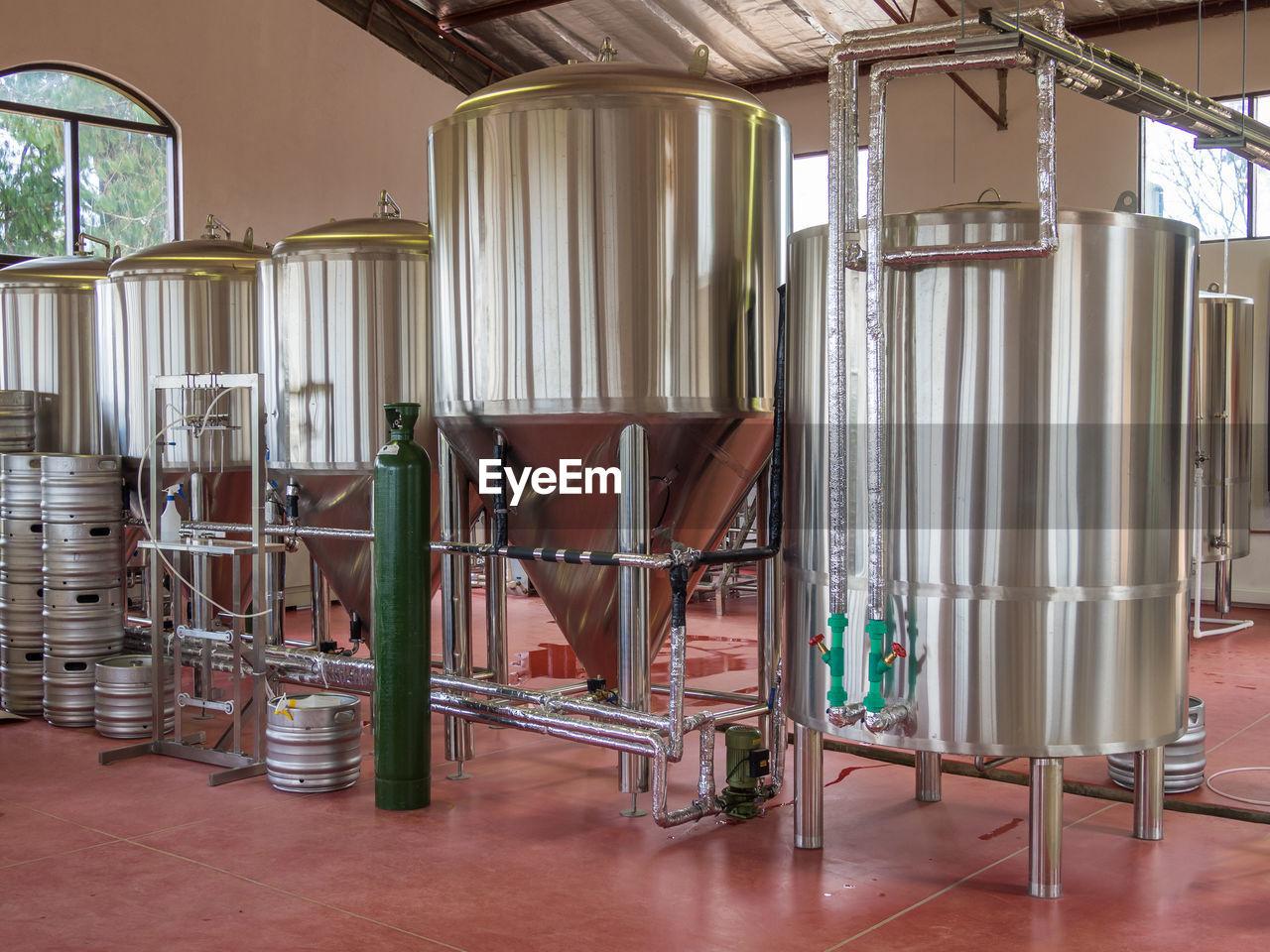 Craft beer brewery equipment indoors