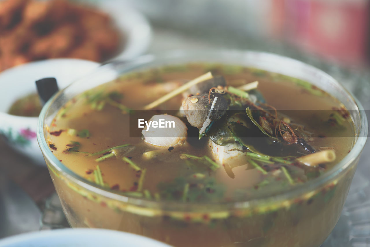 food and drink, food, freshness, healthy eating, ready-to-eat, close-up, indoors, wellbeing, selective focus, still life, bowl, serving size, soup, table, no people, vegetable, eating utensil, kitchen utensil, spoon, indulgence, temptation, soup bowl, vegetarian food