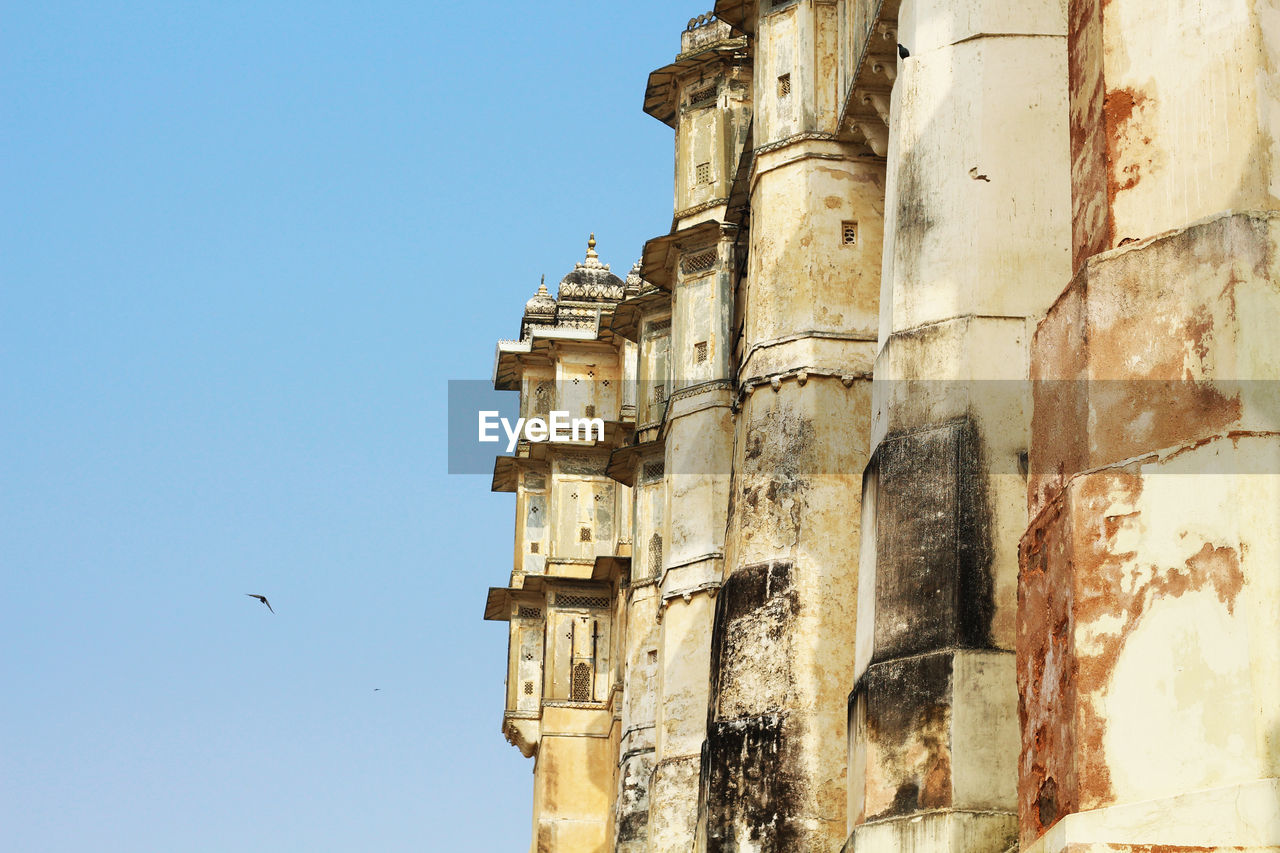 built structure, architecture, building exterior, sky, history, the past, low angle view, building, clear sky, vertebrate, no people, animal, bird, day, animal themes, flying, religion, nature, belief, travel destinations, outdoors, ancient civilization