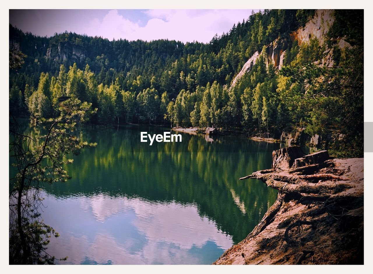 Scenic View Of Lake Against Trees On Mountain