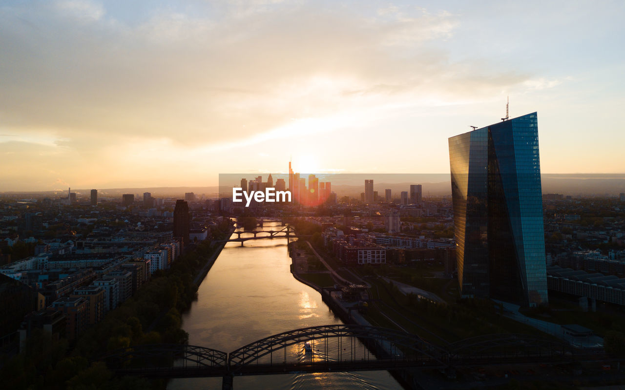 View of city at sunset