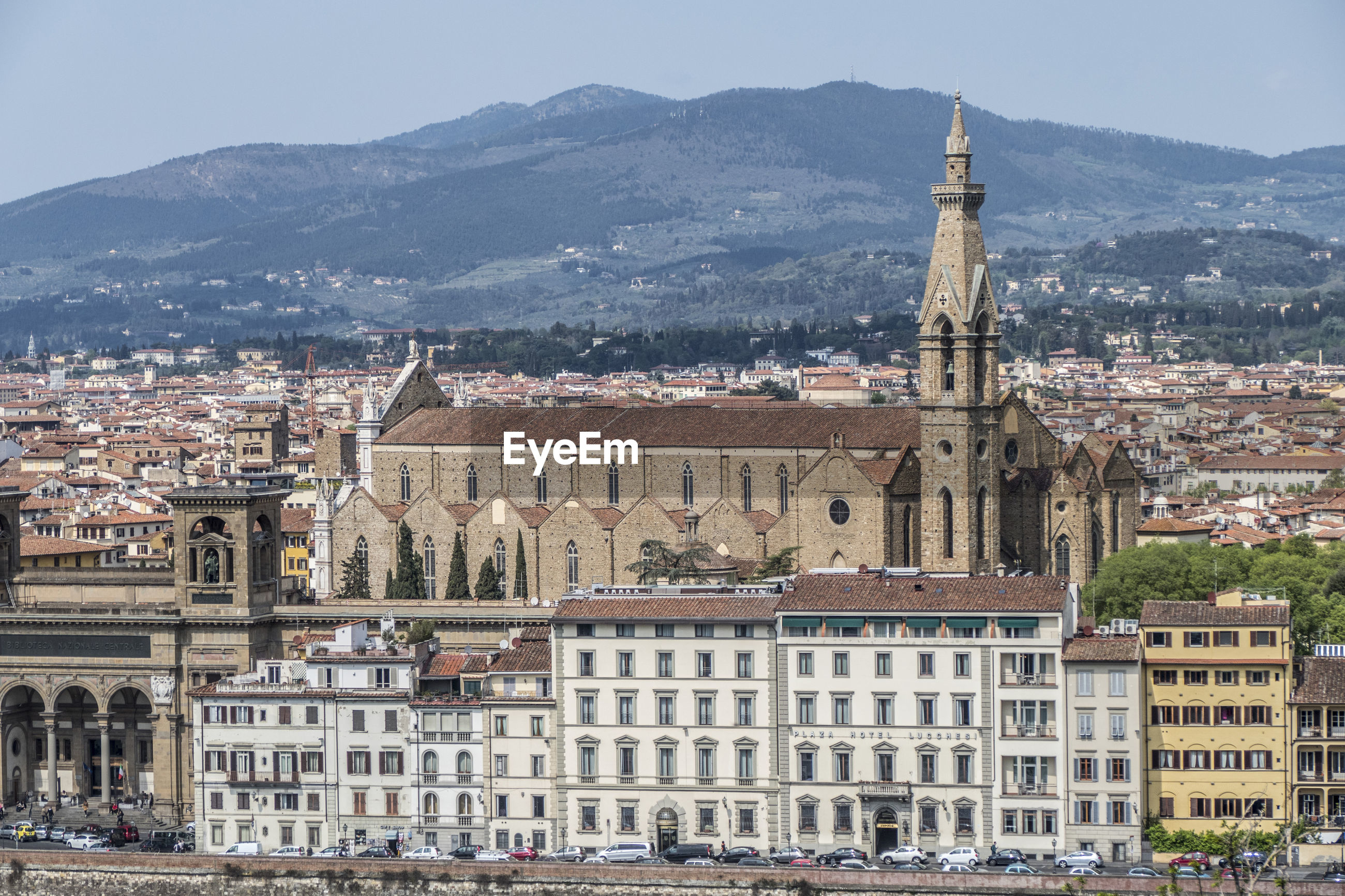 Aerial view of the basilica of santa croce in florence