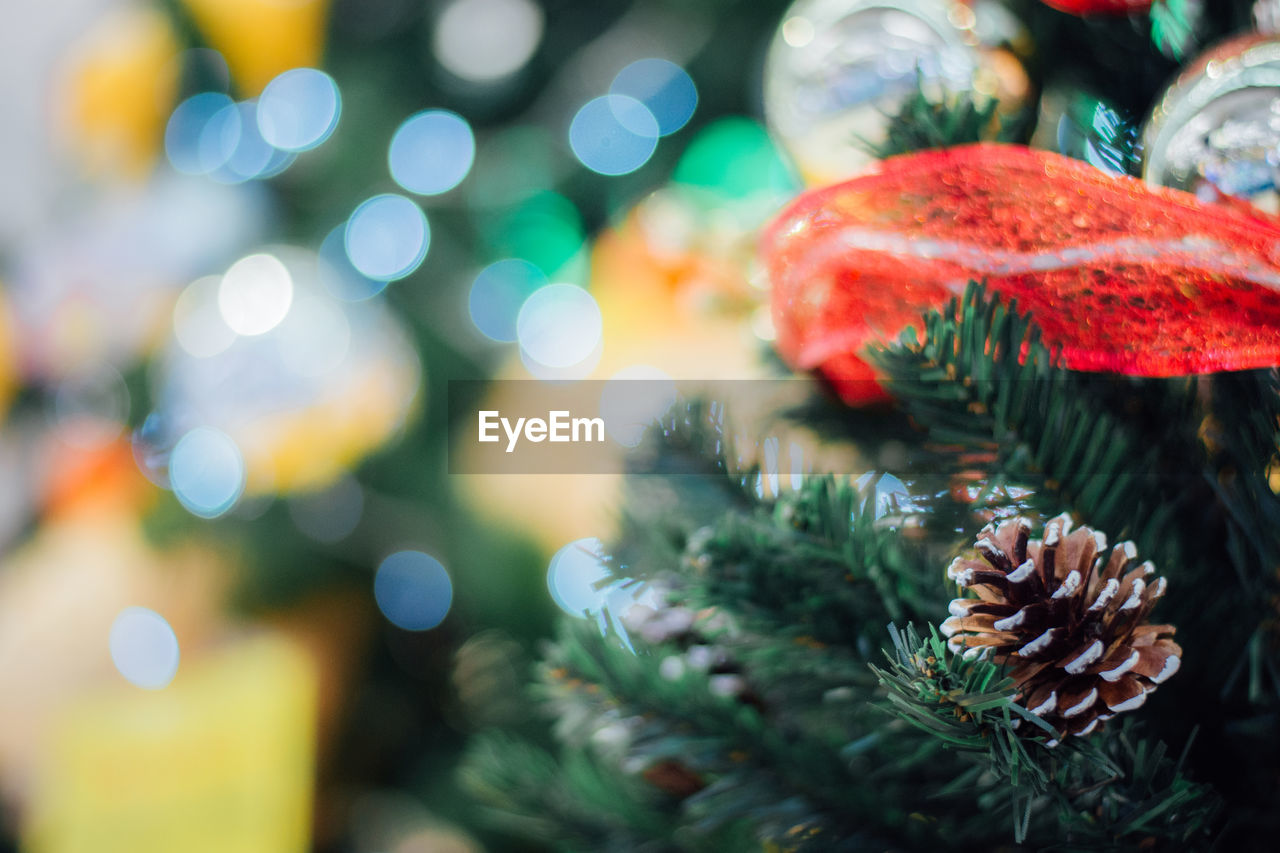 christmas, decoration, christmas decoration, holiday, close-up, celebration, christmas tree, no people, focus on foreground, selective focus, illuminated, christmas ornament, tree, green color, event, indoors, holiday - event, art and craft, plant