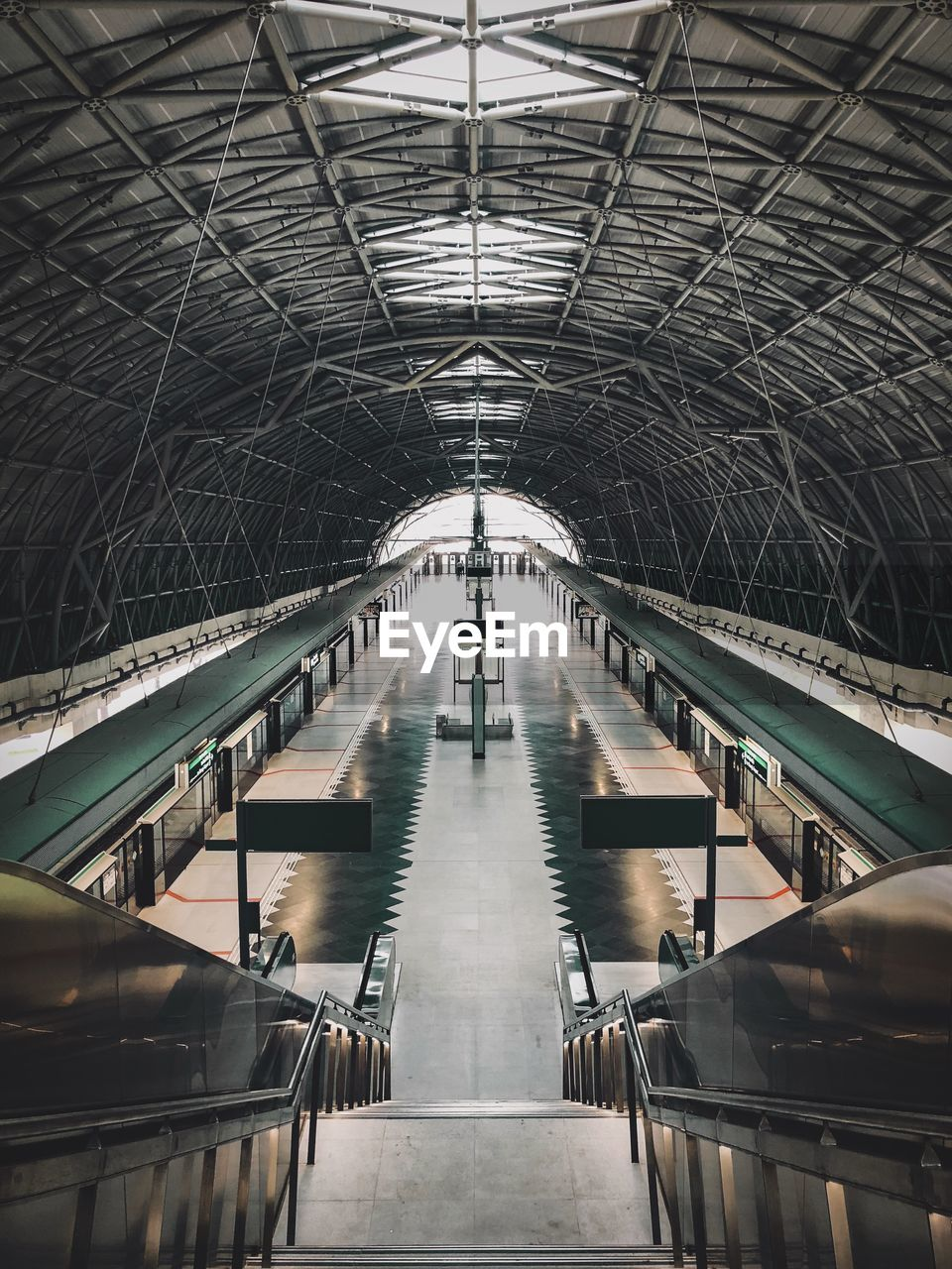 High Angle View Of Empty Railroad Station