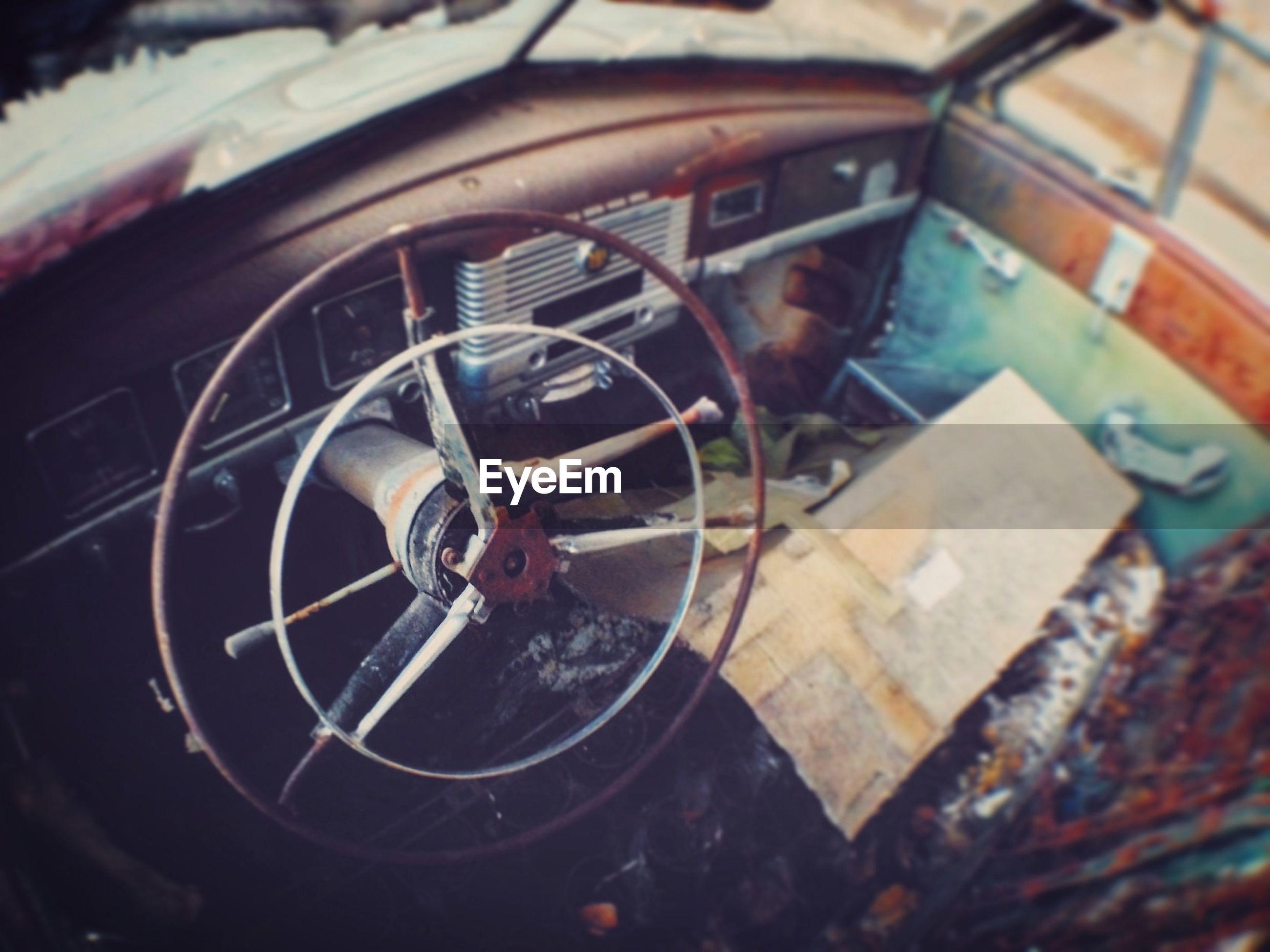 Steering wheel of abandoned car