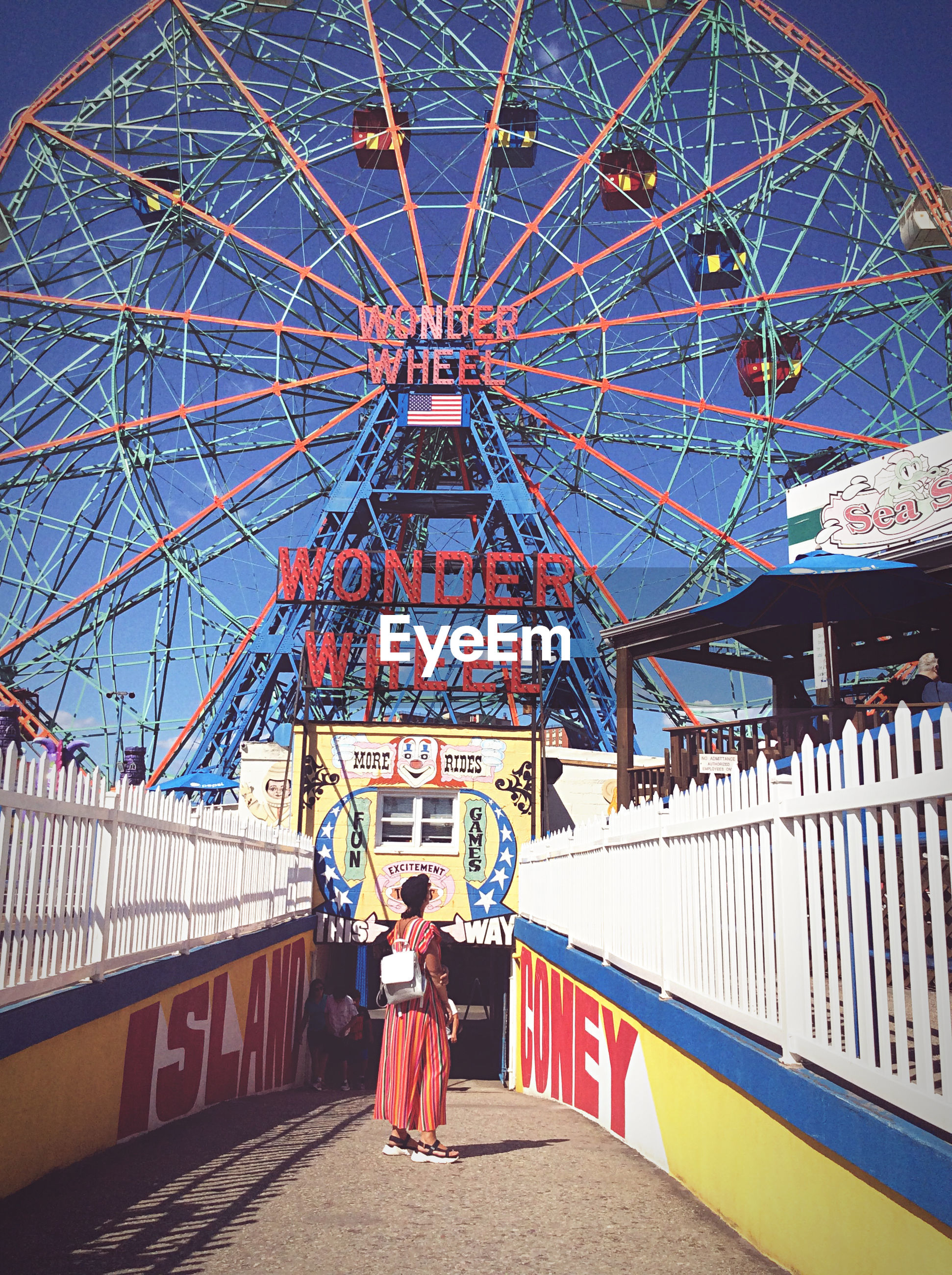 REAR VIEW OF WOMAN STANDING ON AMUSEMENT PARK