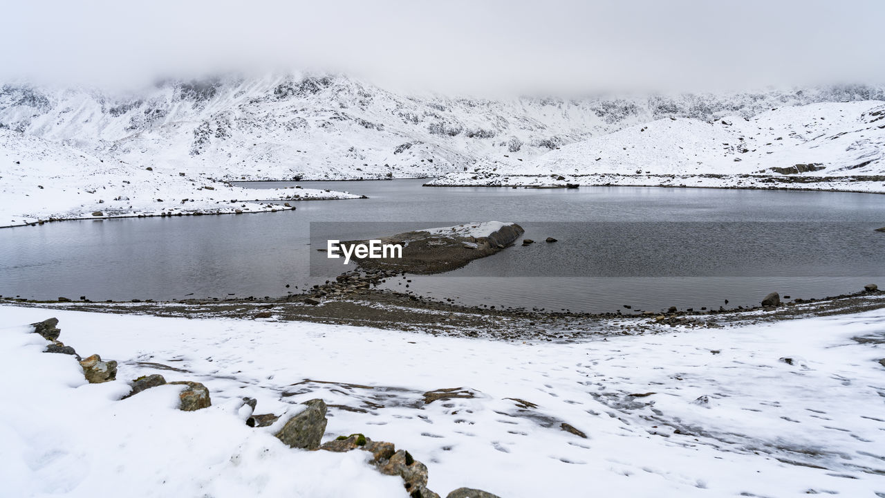 snow, winter, cold temperature, beauty in nature, water, scenics - nature, tranquility, tranquil scene, no people, mountain, nature, day, non-urban scene, snowcapped mountain, frozen, sky, white color, lake, ice