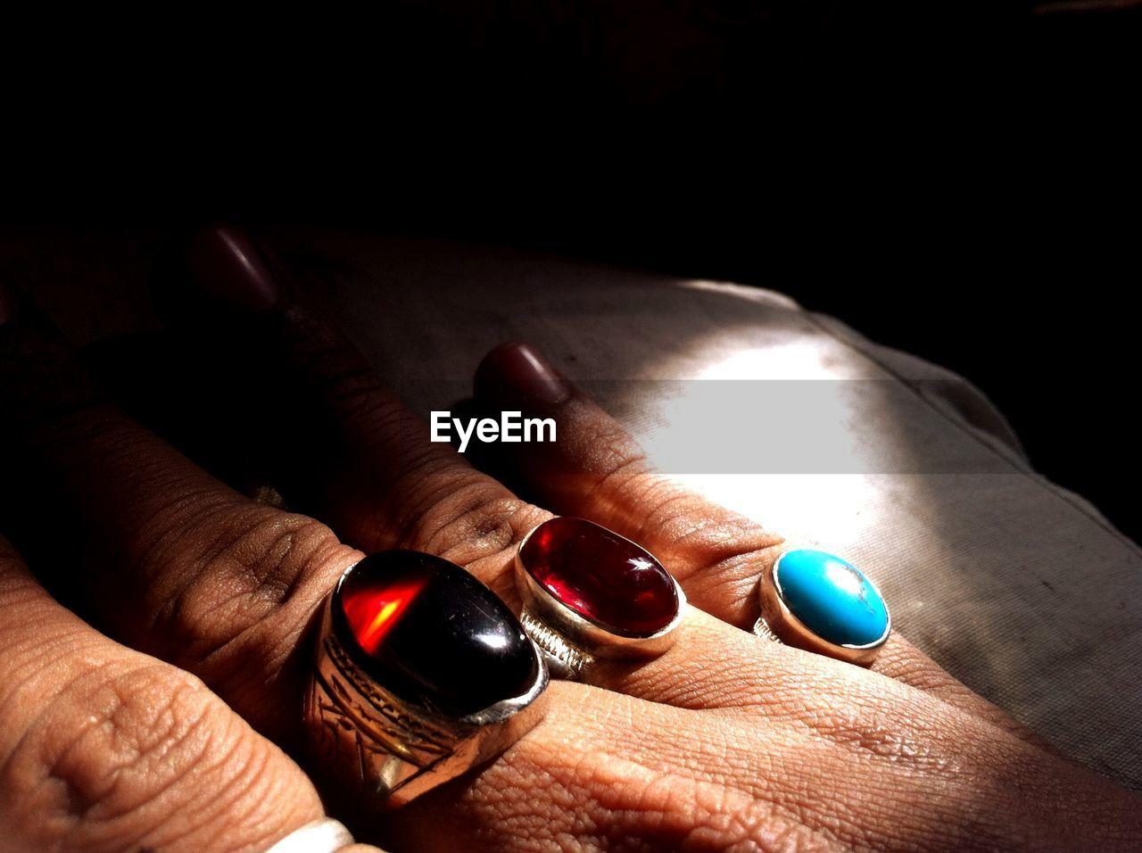 Close-Up Of Man Wearing Rings