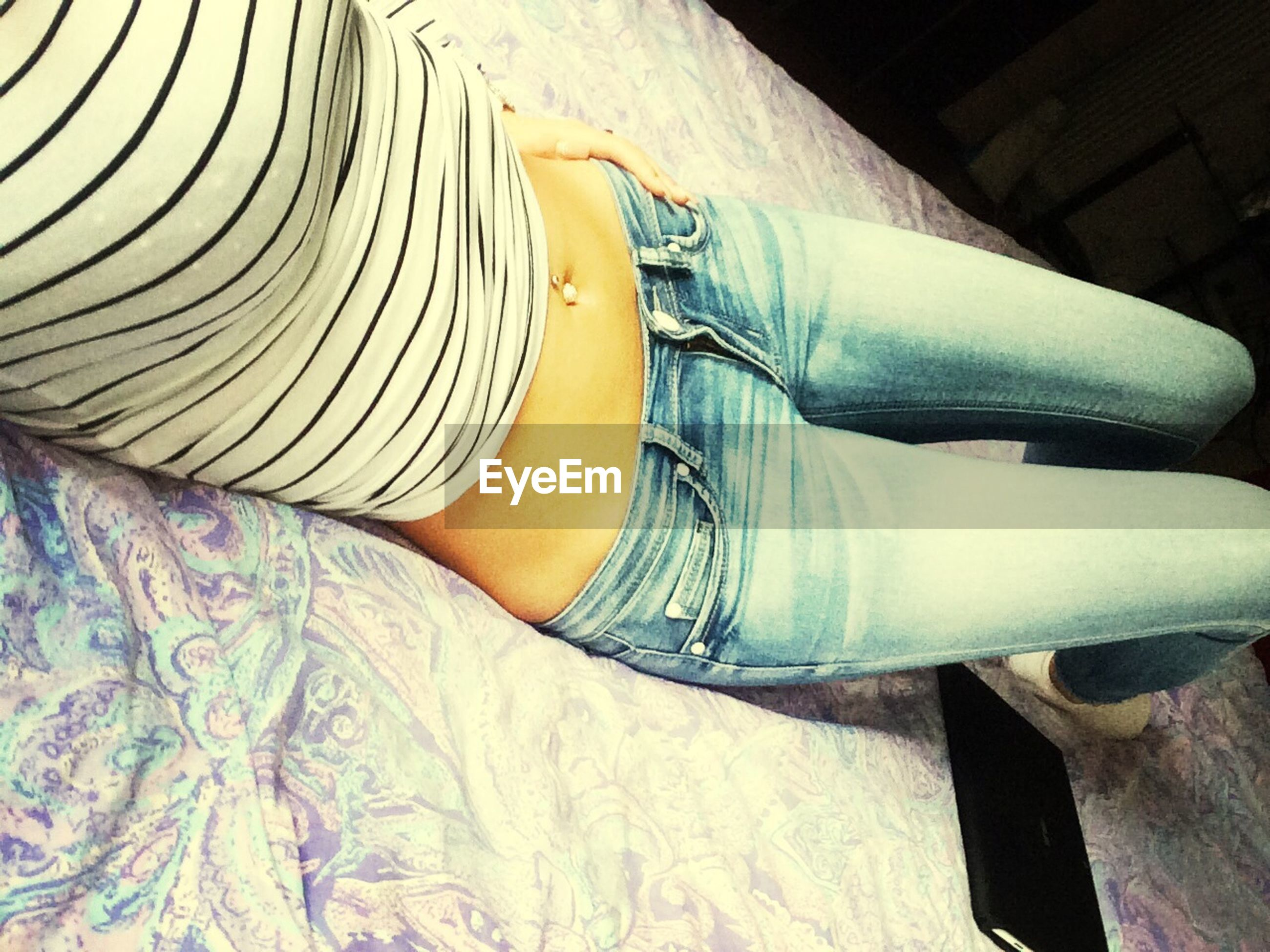 indoors, jeans, close-up, low section, sunlight, shoe, yellow, high angle view, blue, day, part of, hat, person, casual clothing, travel, low angle view