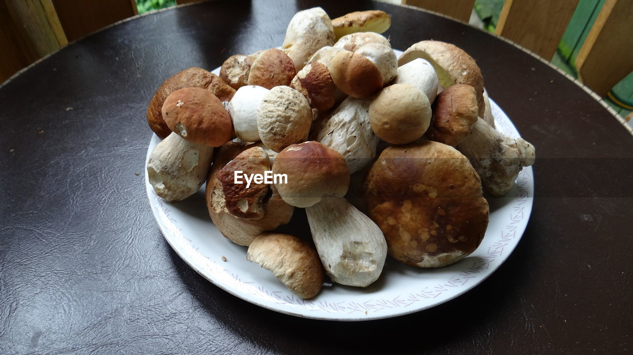 Close-Up Of Mushrooms In Plate On Table