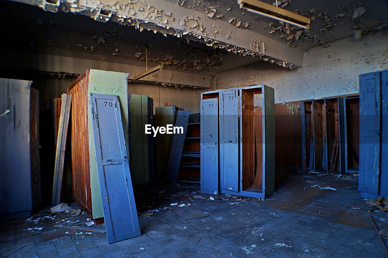 Damaged Cabinets In Abandoned Building