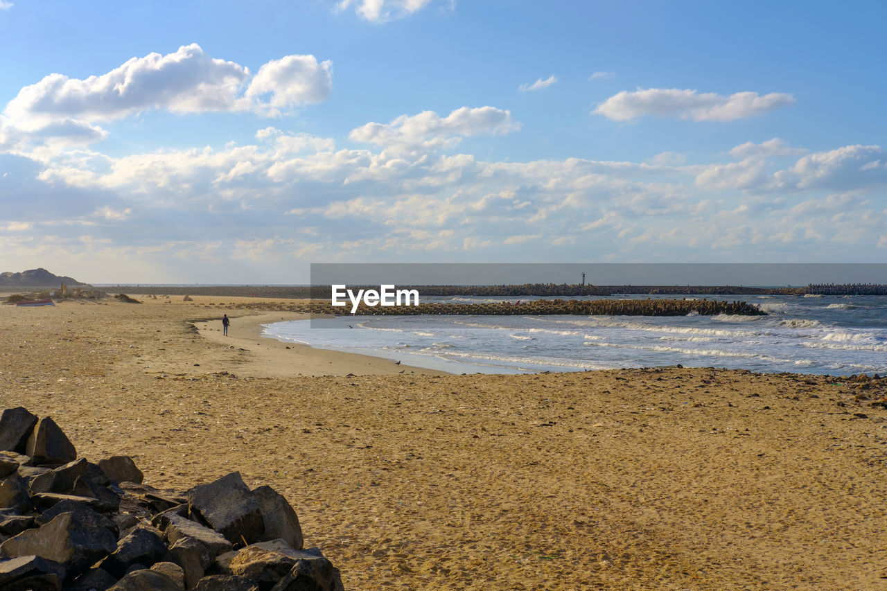 water, sea, beach, sky, land, cloud - sky, beauty in nature, scenics - nature, tranquility, horizon, horizon over water, tranquil scene, nature, day, sand, rock, solid, non-urban scene, rock - object, outdoors, no people, groyne