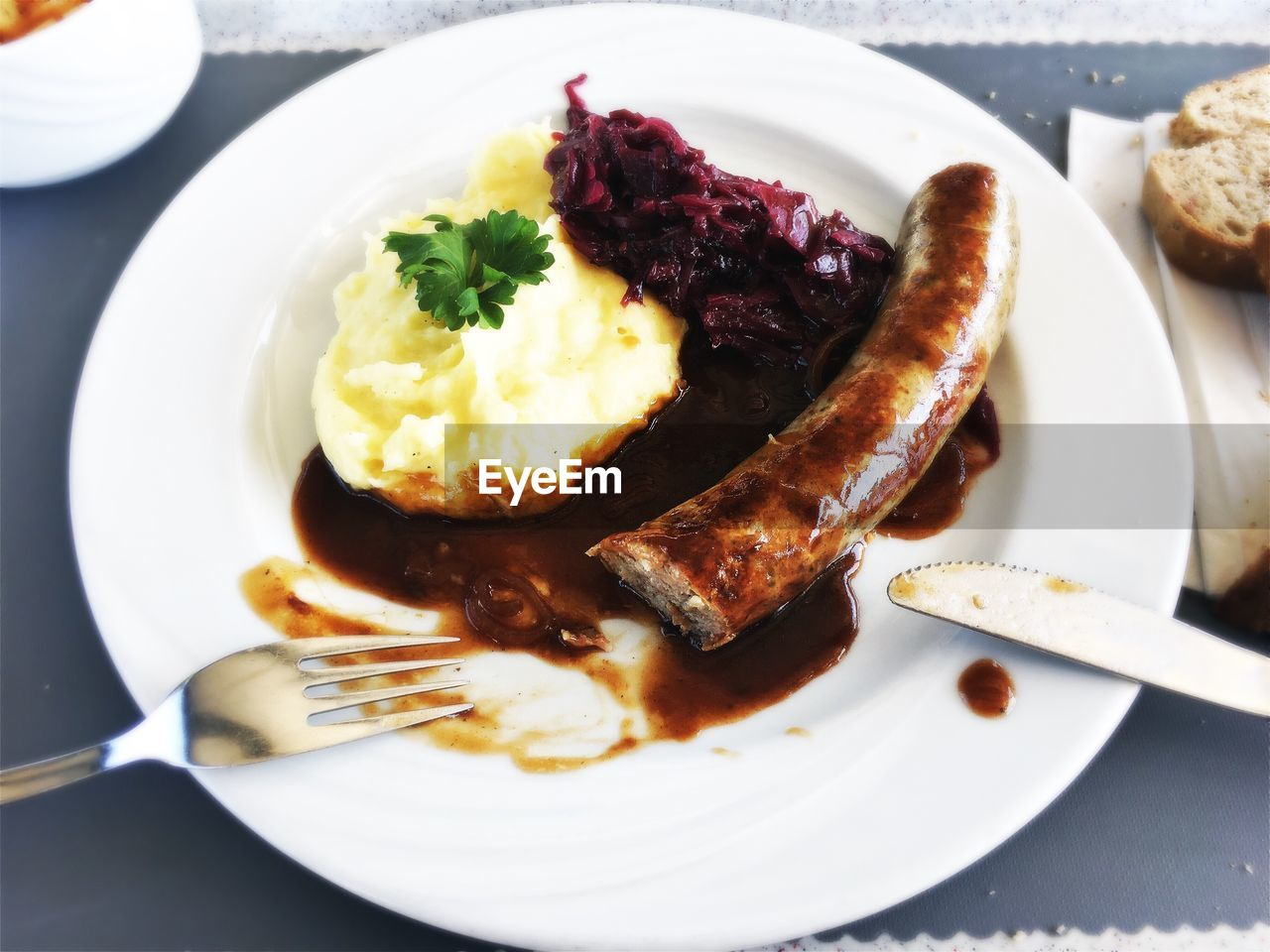 Close-up of sausage with mashed potatoes