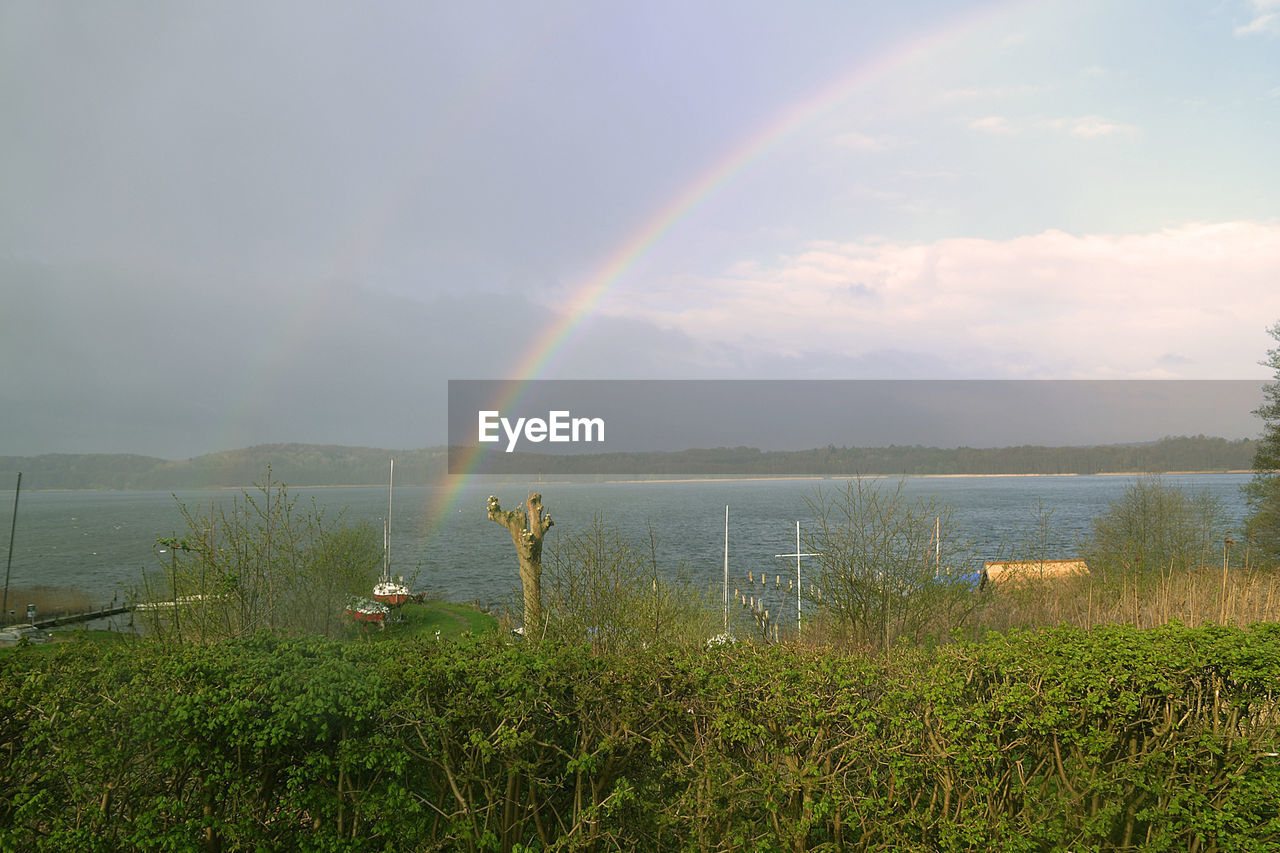 rainbow, beauty in nature, nature, scenics, water, double rainbow, sky, grass, tranquil scene, cloud - sky, idyllic, no people, outdoors, day, tranquility, field, growth, lake, landscape, tree