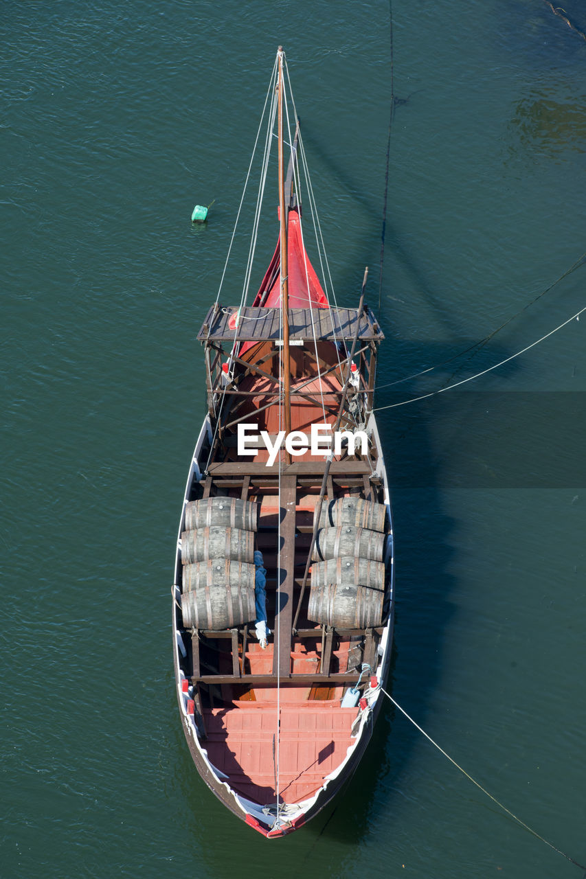 High Angle View Of Sailboat Moored In Sea