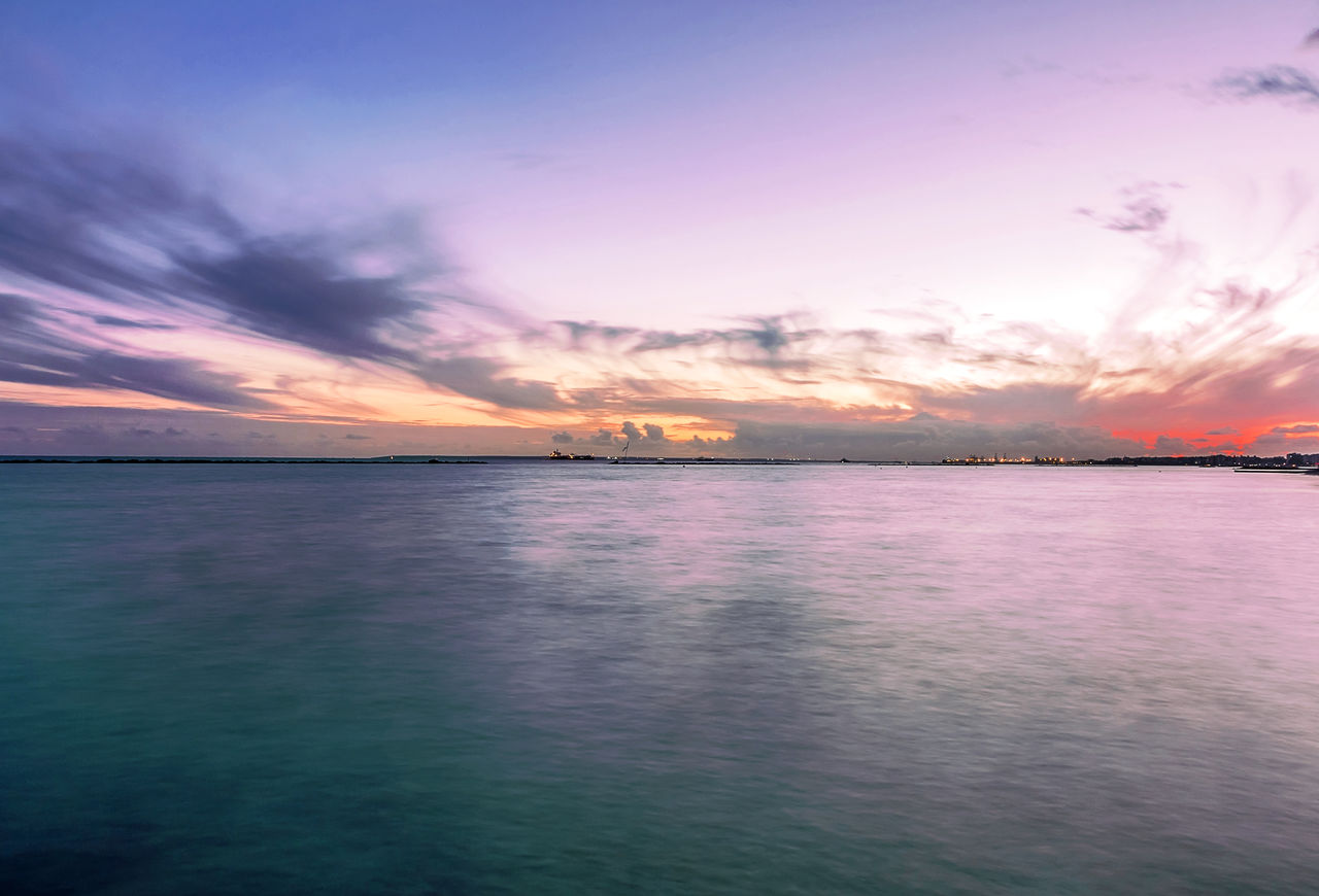 sky, scenics, sunset, beauty in nature, sea, tranquil scene, tranquility, water, nature, cloud - sky, idyllic, horizon over water, no people, outdoors, day