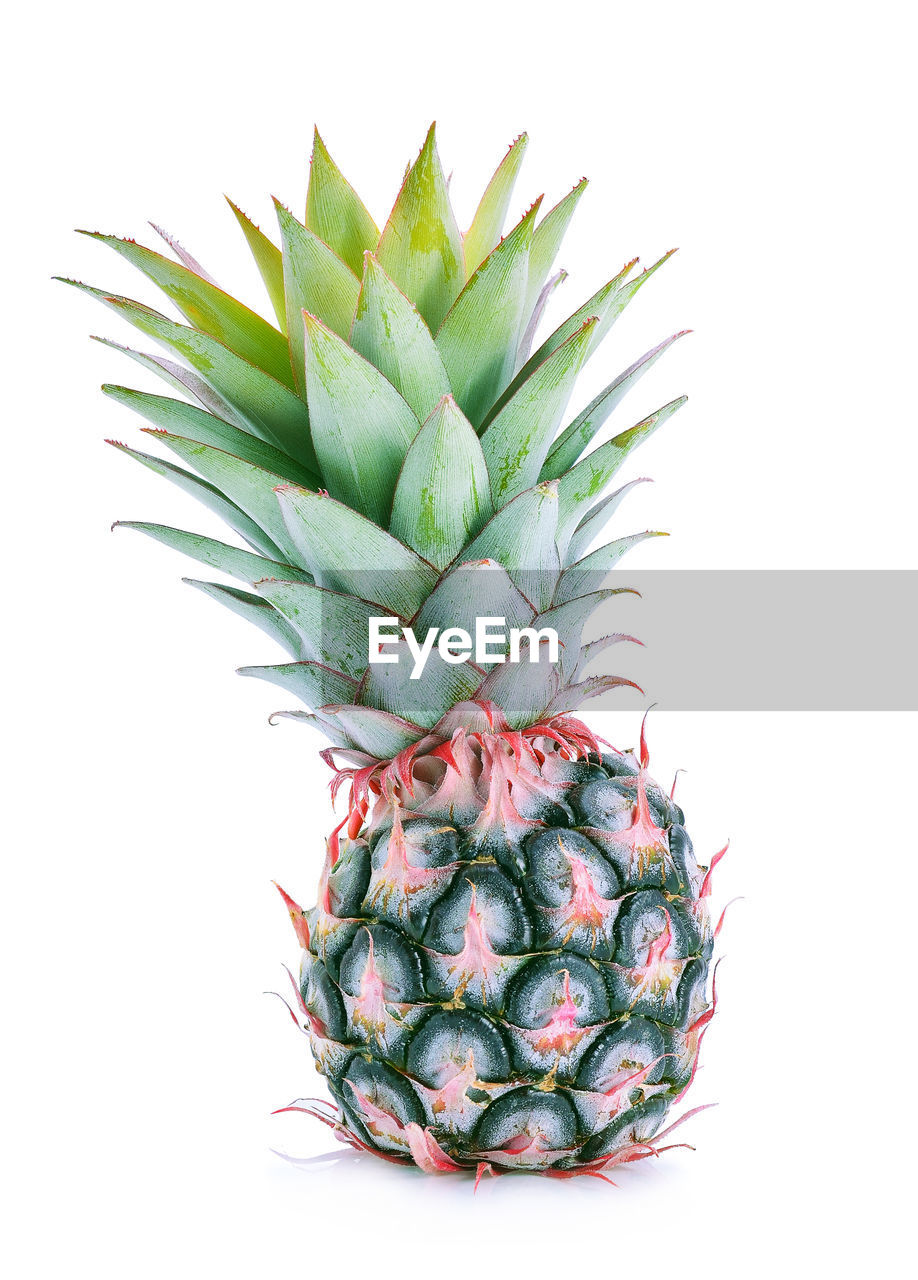 Close-up of pineapple against white background