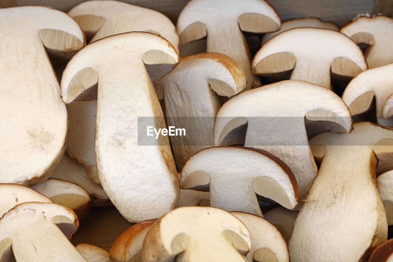 Close-Up Of Fresh Mushrooms At Market Stall