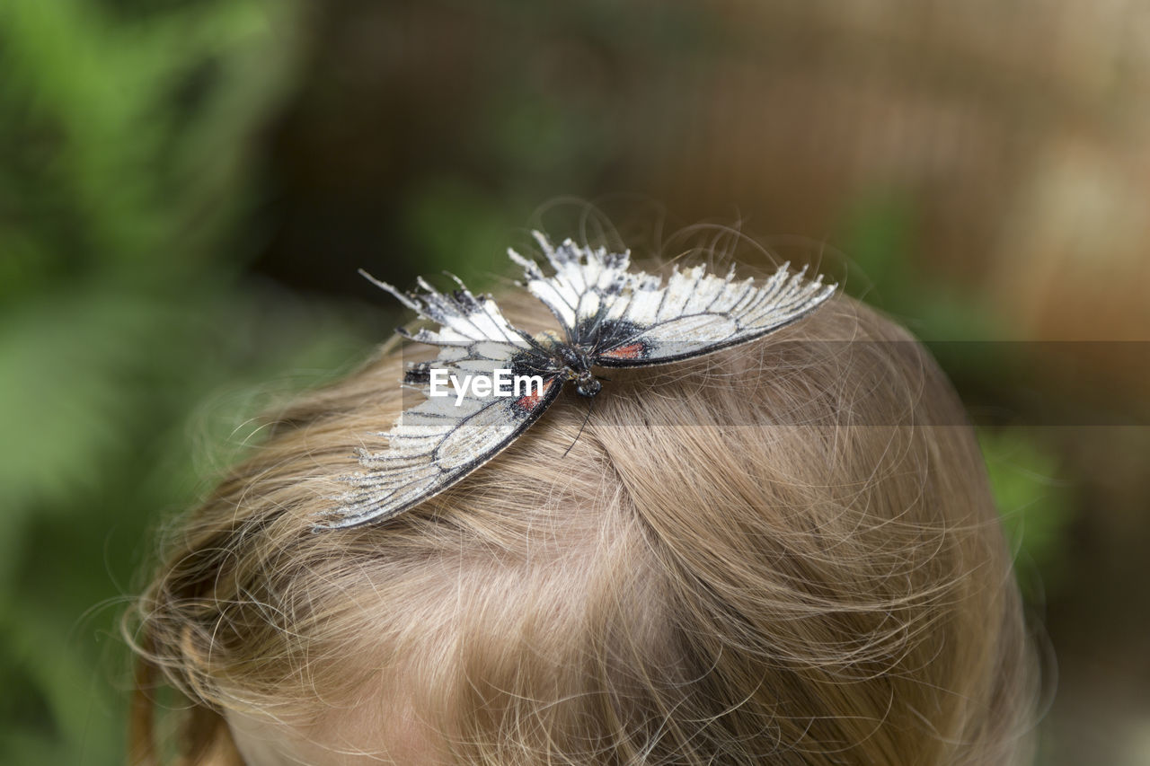 Close-up of butterfly on girl