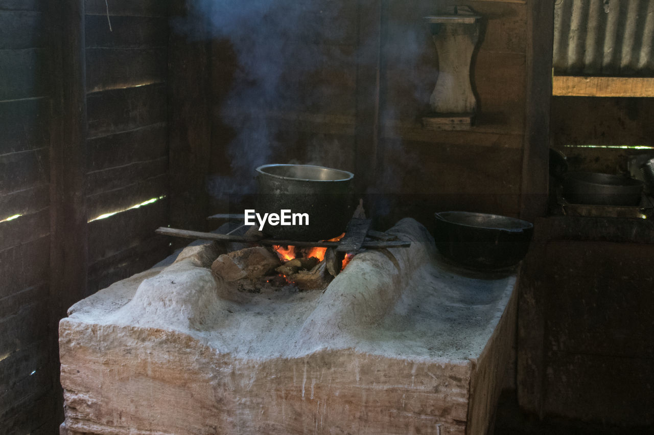 Container on wood burning stove