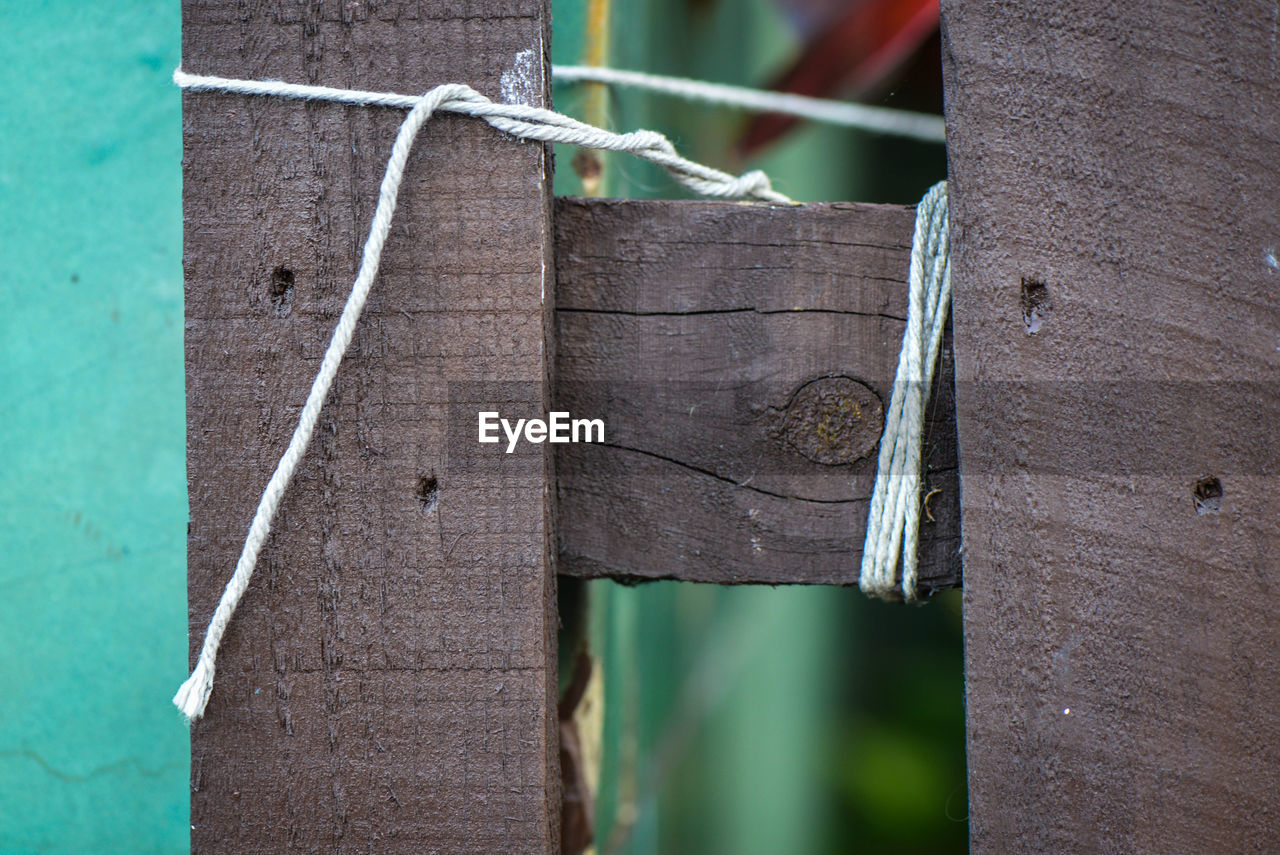 wood - material, focus on foreground, close-up, day, metal, no people, boundary, outdoors, nature, plant, fence, barrier, green color, brown, trunk, tree trunk, growth, rusty, textured, leaf, wooden post