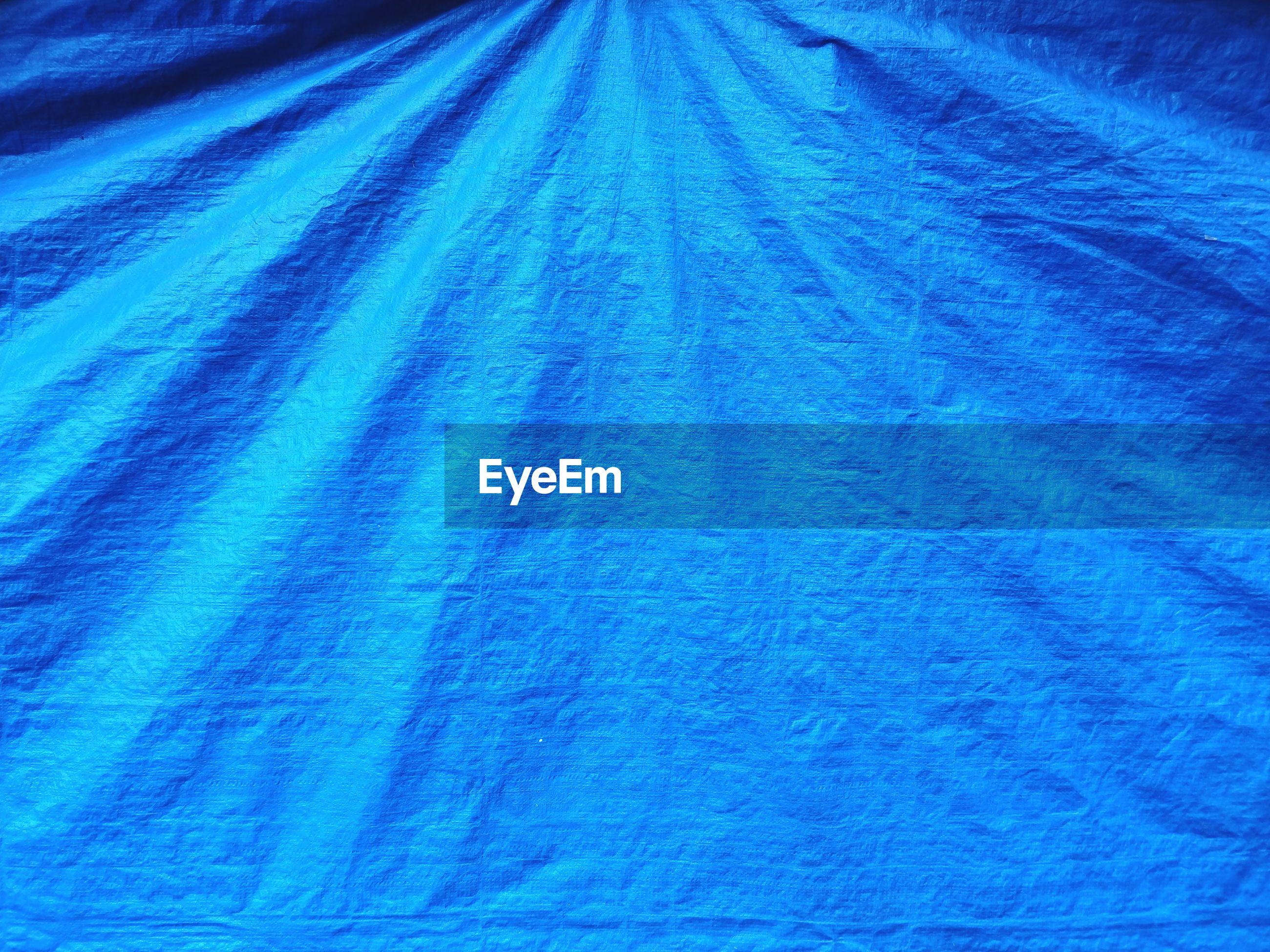 Full frame shot of blue fabric
