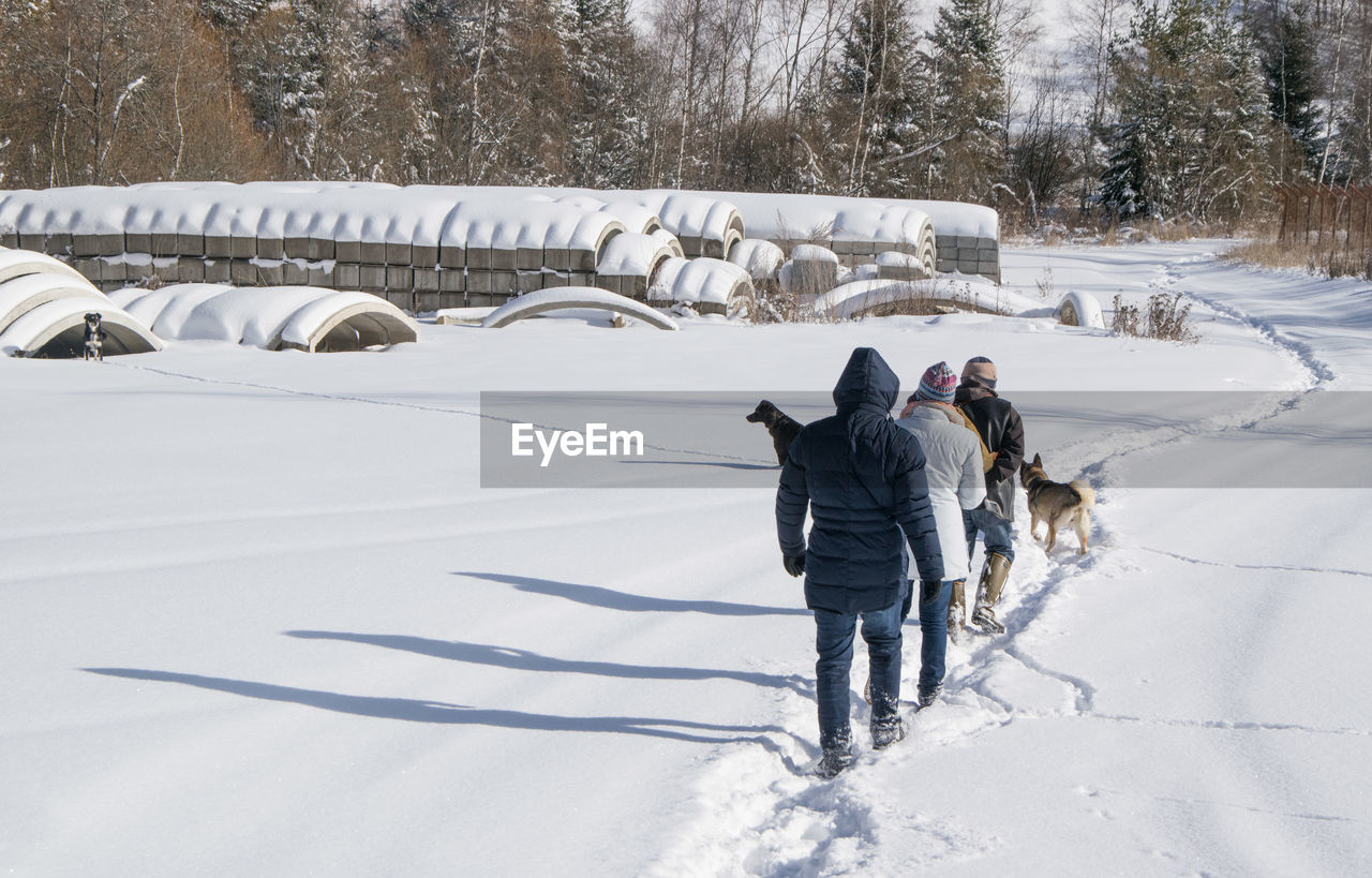 Rear view of people with dog in snow