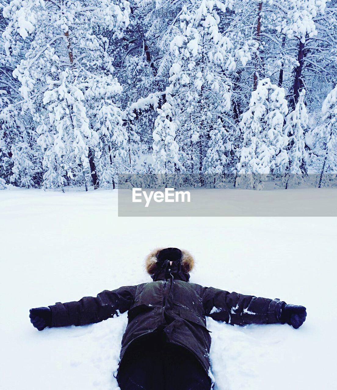 Person lying on snow covered landscape