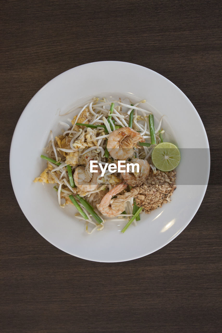 Directly Above View Of Food In Plate On Table