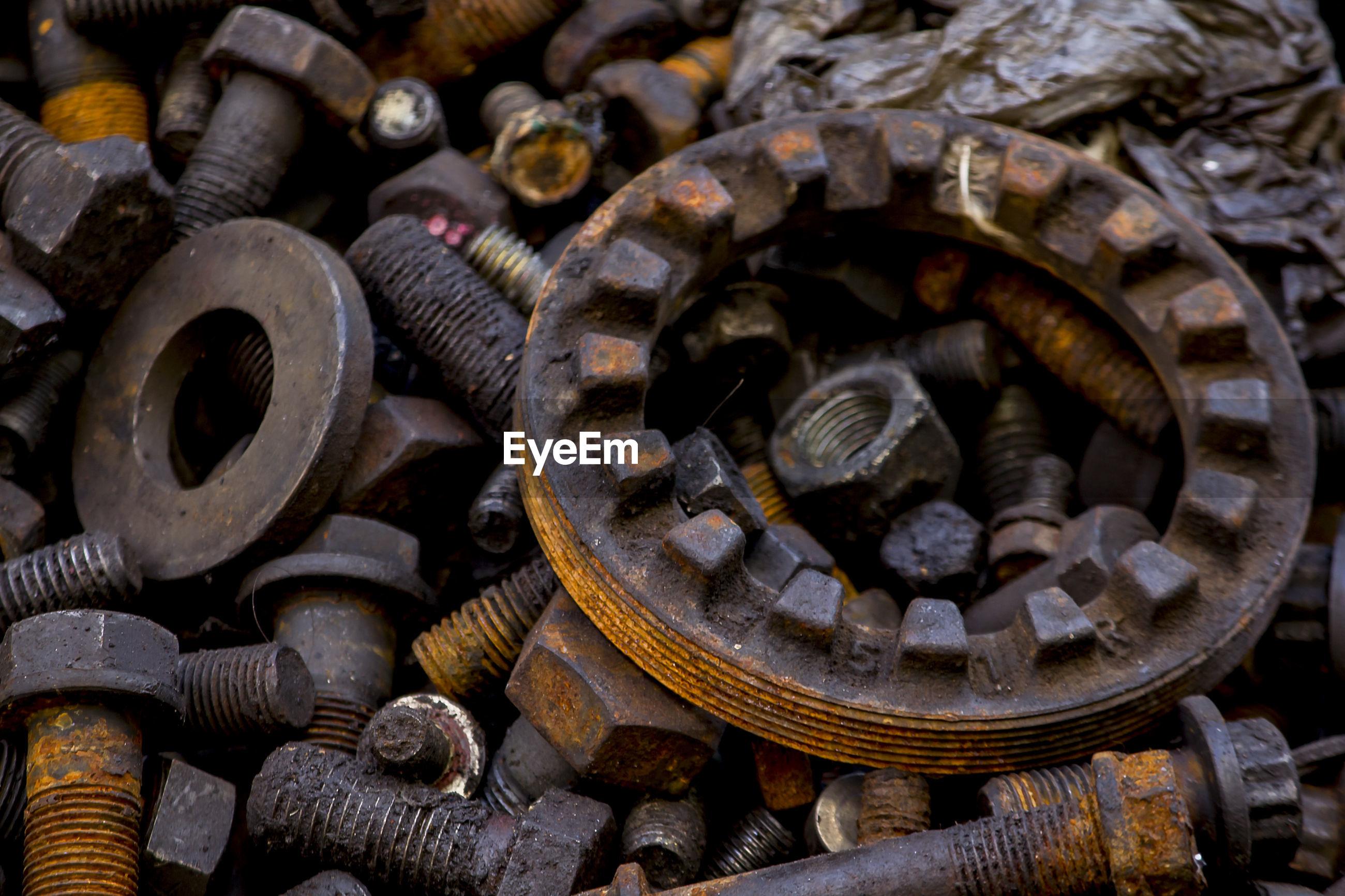 Full frame shot of rusty machine parts