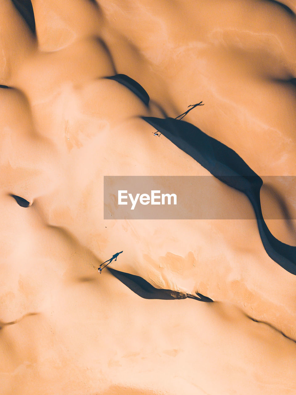 Drone View Of Sand Dunes At Desert