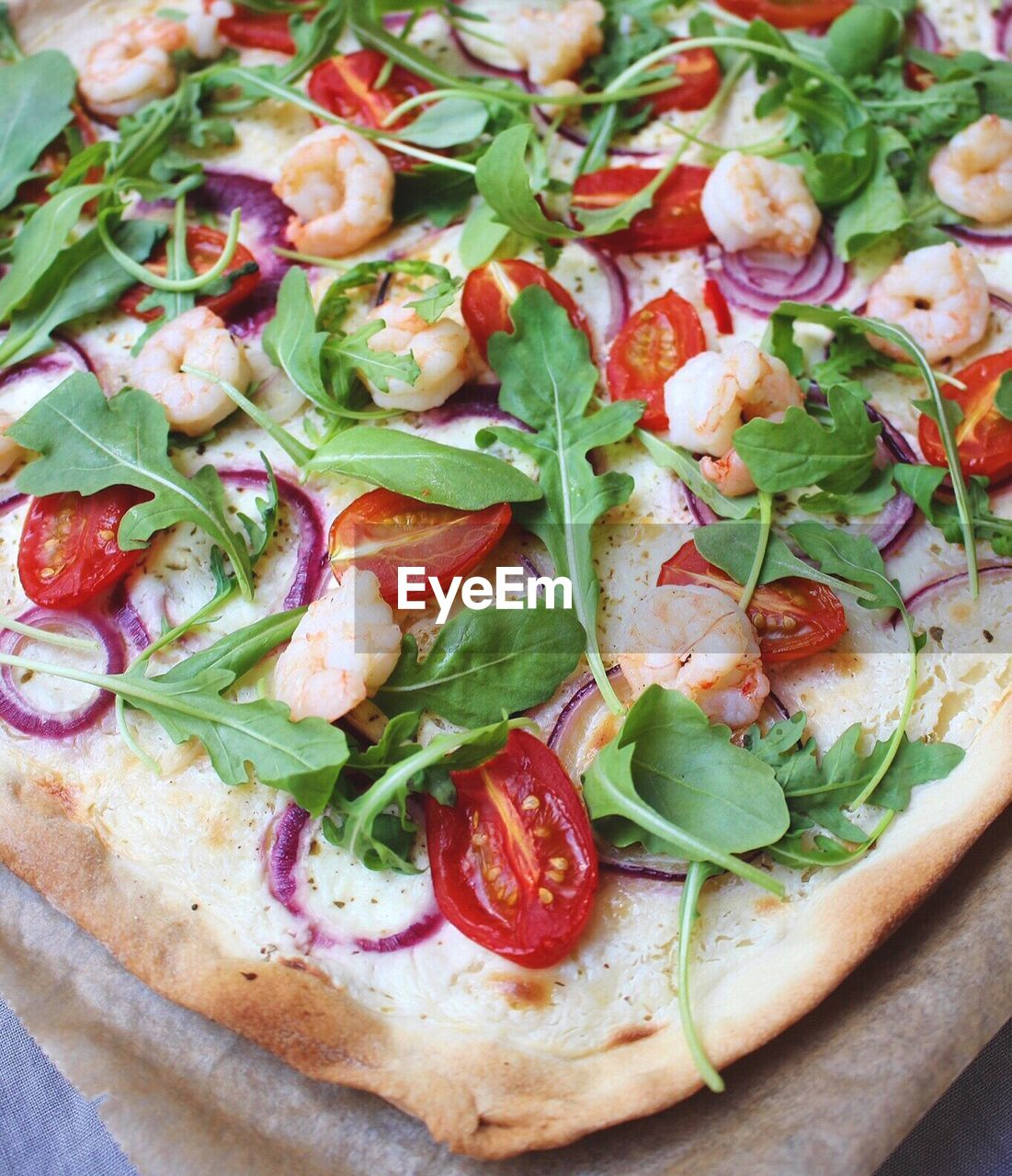 High Angle View Of Fresh Pizza On Table
