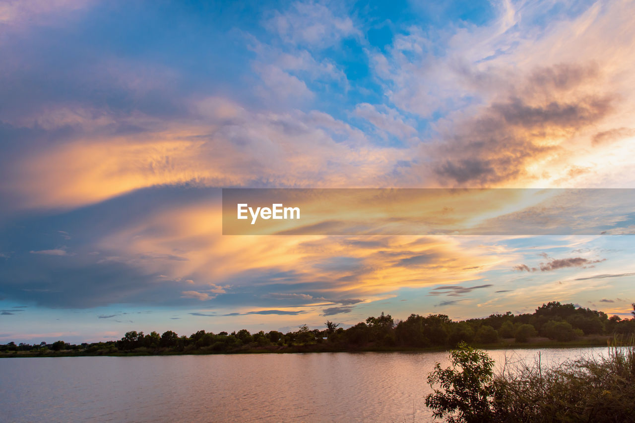 sky, cloud - sky, water, beauty in nature, scenics - nature, tranquil scene, lake, sunset, tranquility, tree, plant, nature, no people, non-urban scene, idyllic, waterfront, orange color, outdoors