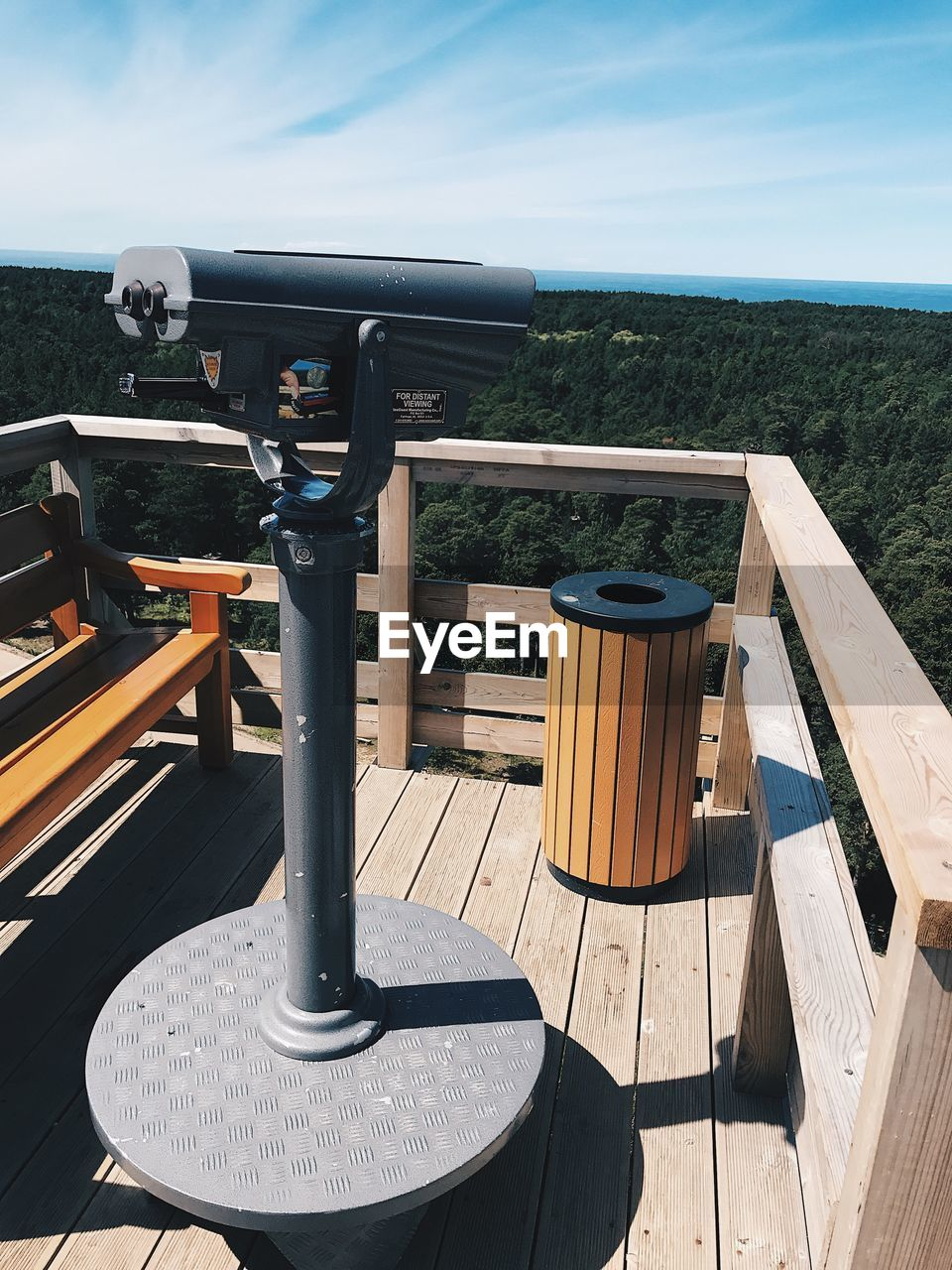 Coin-operated binoculars at observation point