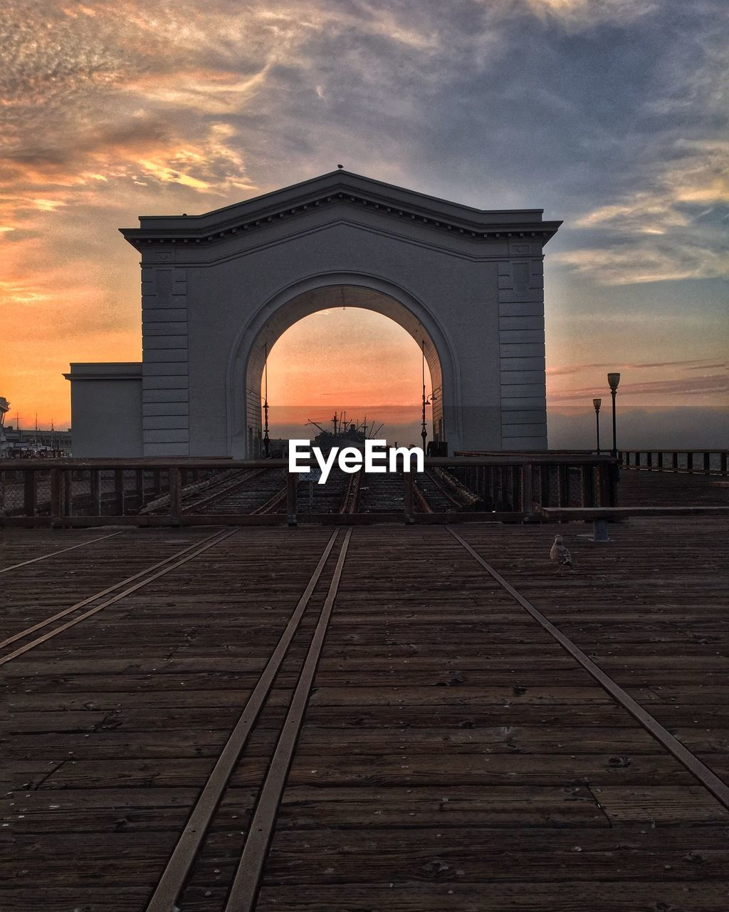 sunset, sky, cloud - sky, built structure, architecture, arch, railroad track, transportation, rail transportation, no people, outdoors, building exterior, day