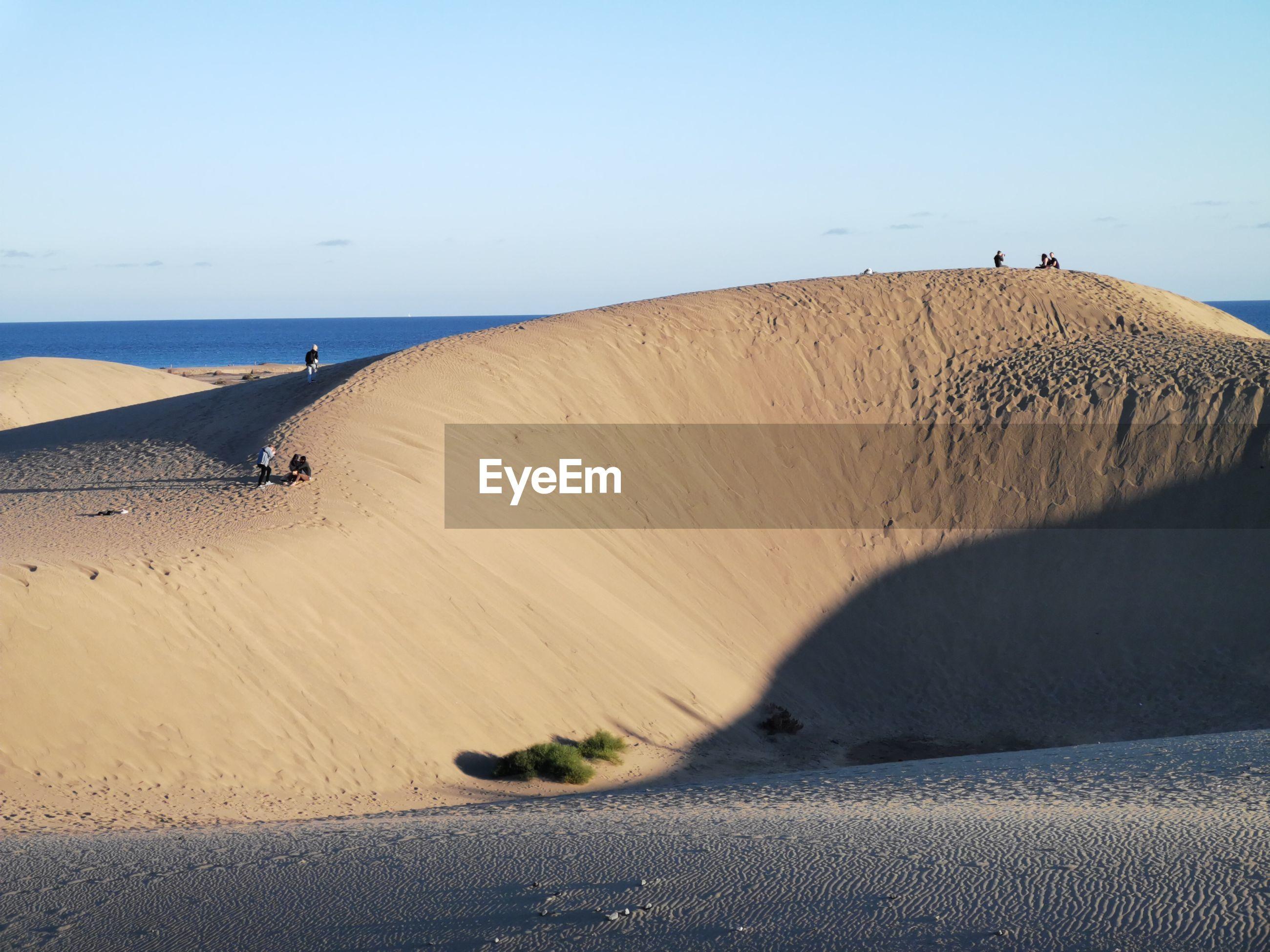 Sand dune on beach against clear sky