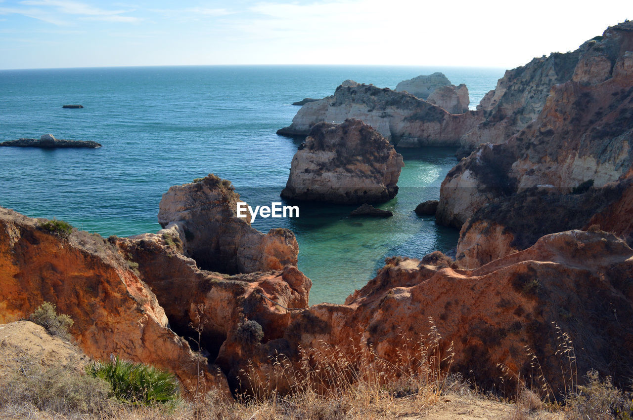 SCENIC VIEW OF ROCK FORMATIONS BY SEA AGAINST SKY