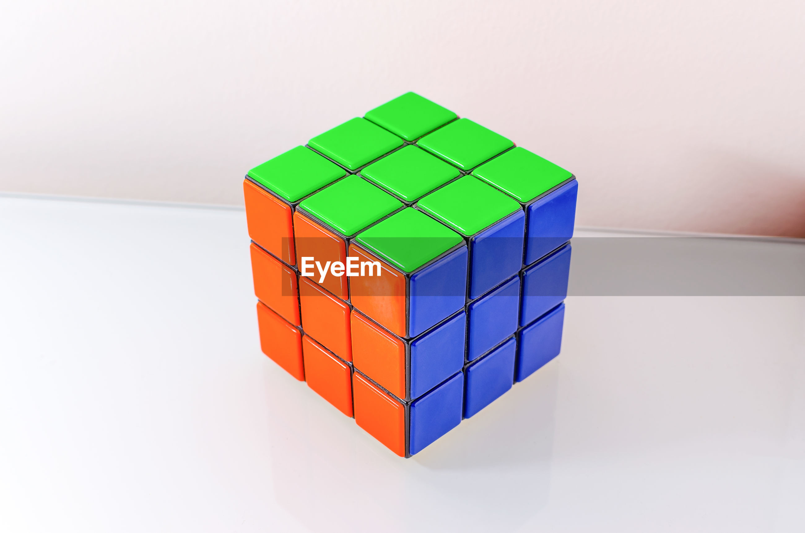 Close-up of puzzle cube on table