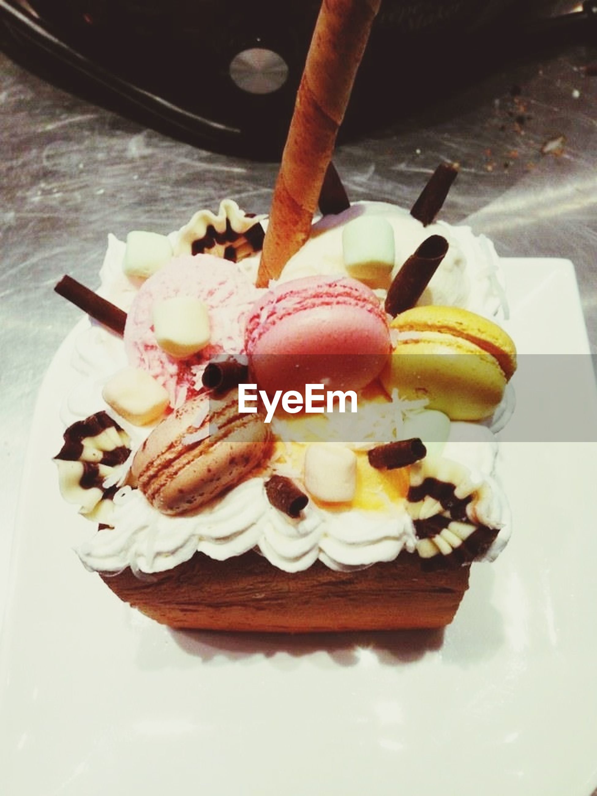 food and drink, food, freshness, sweet food, dessert, ready-to-eat, indoors, indulgence, unhealthy eating, still life, temptation, plate, cake, close-up, ice cream, table, fruit, serving size, frozen food
