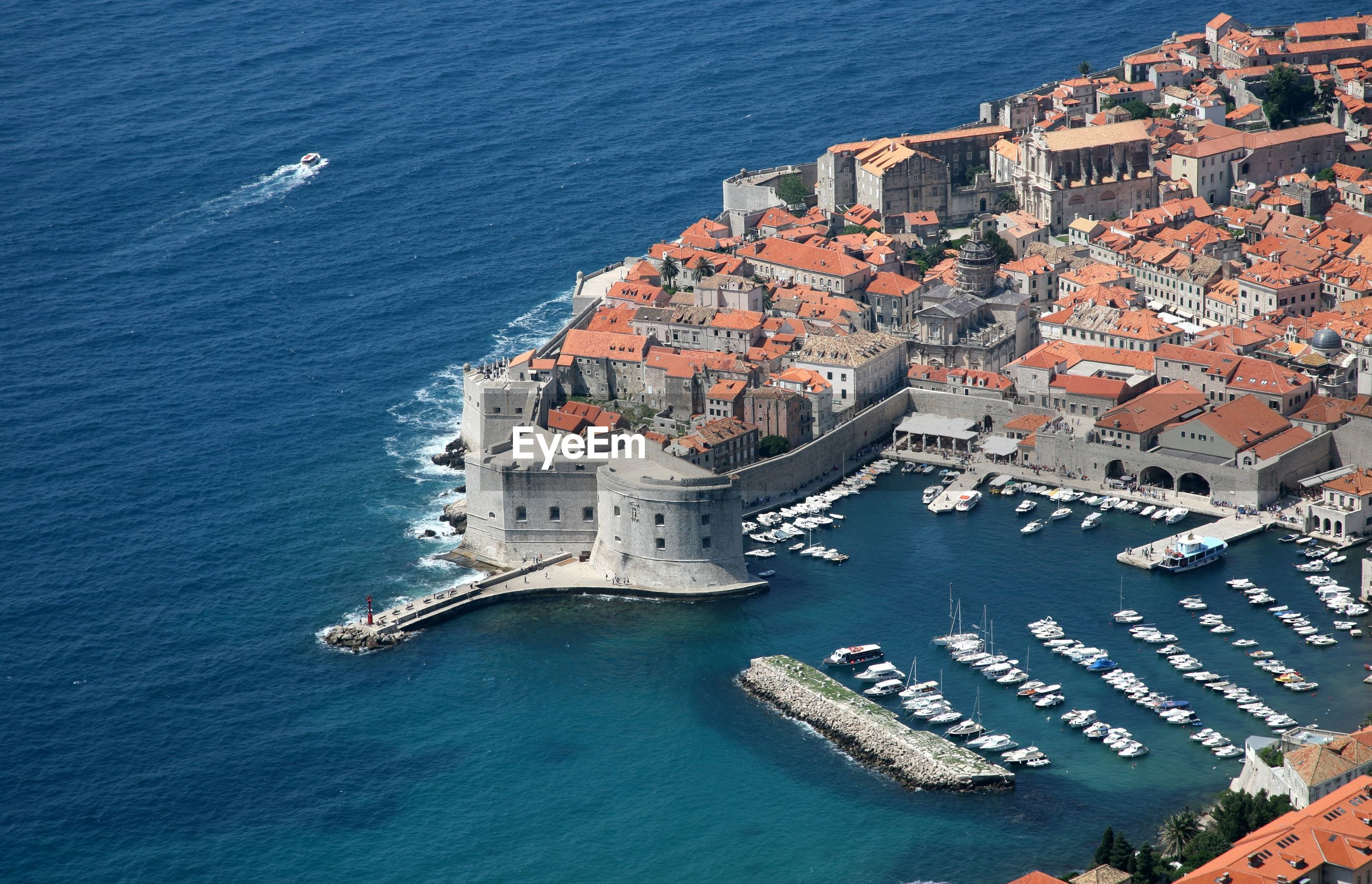 Walls of dubrovnik by adriatic sea