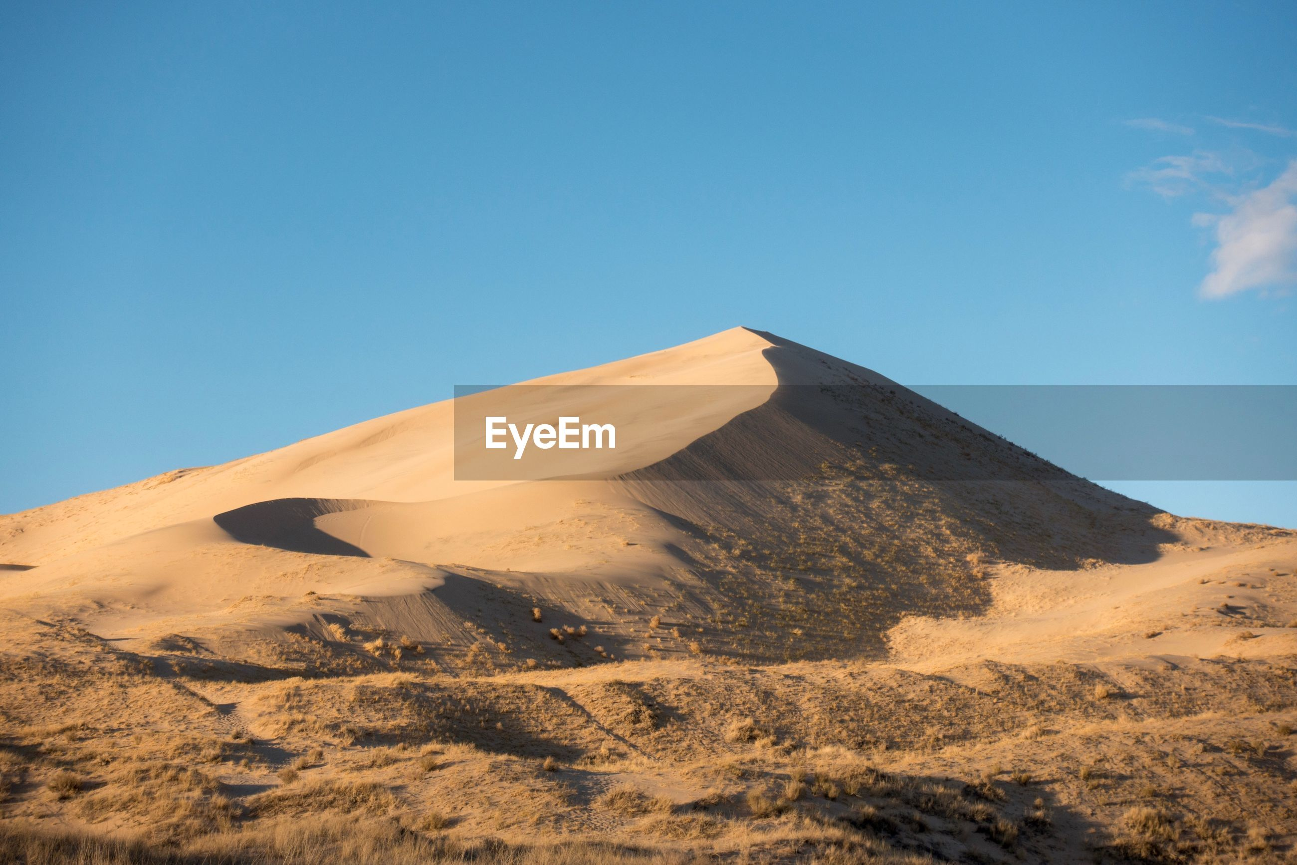 LOW ANGLE VIEW OF ARID LANDSCAPE AGAINST CLEAR BLUE SKY