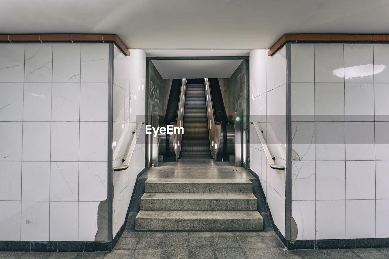 Escalator At Empty Subway Station