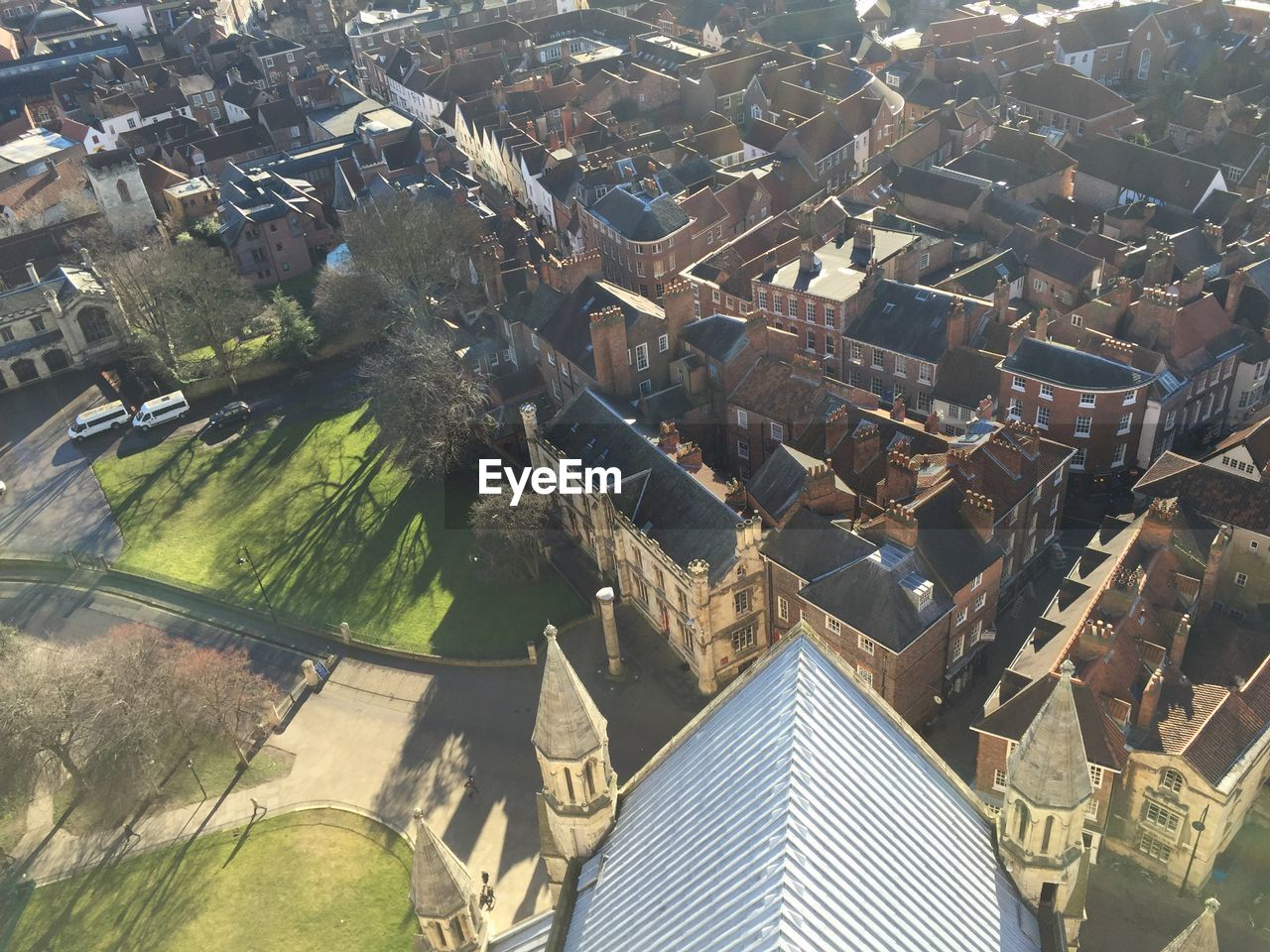 High Angle View Of York Minster By Buildings In City
