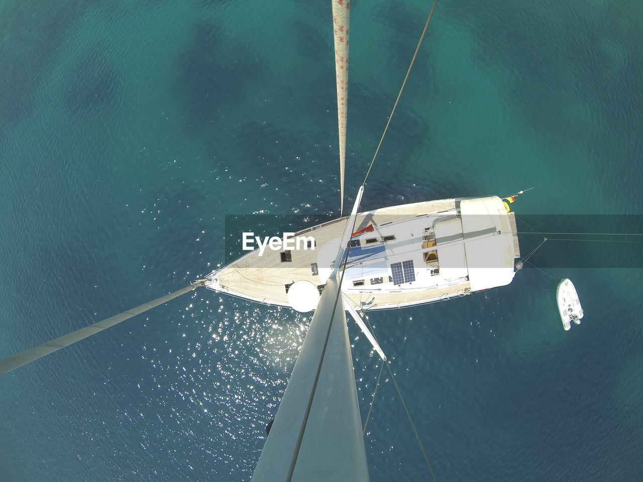 Directly Above Shot Of Sailboat On Sea