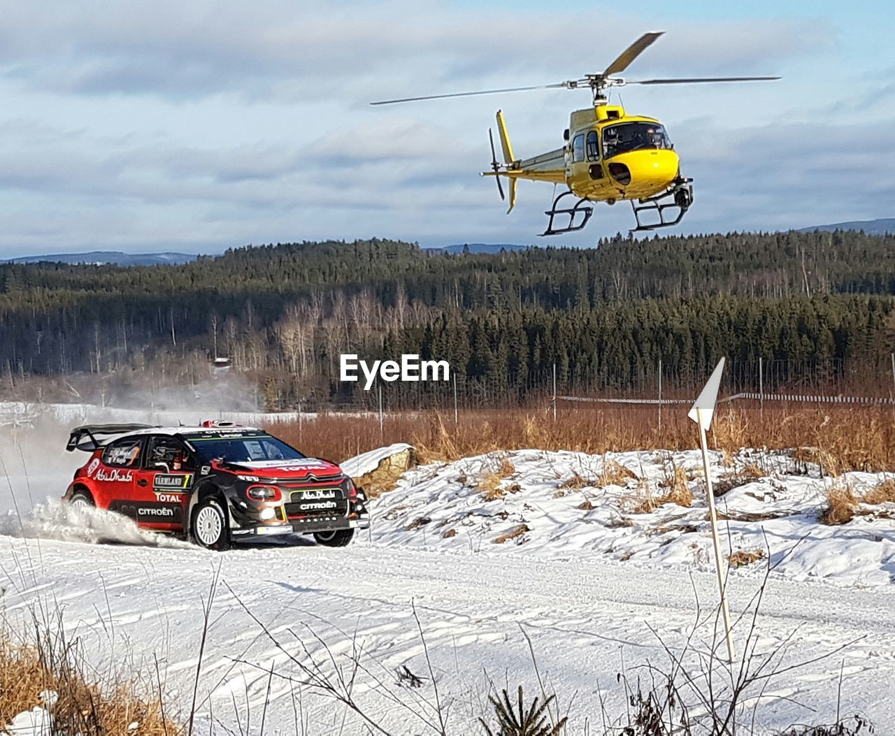 transportation, mode of transport, land vehicle, winter, air vehicle, cold temperature, day, snow, sky, nature, no people, outdoors, flying