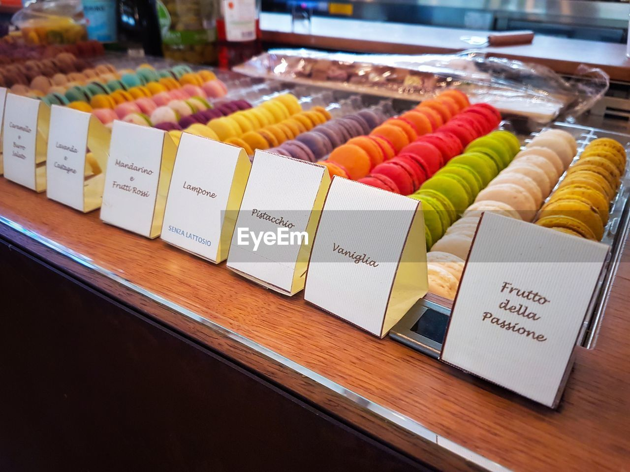 indoors, food and drink, food, variation, text, no people, sweet food, table, arrangement, choice, multi colored, temptation, freshness, price tag, close-up, ready-to-eat, day