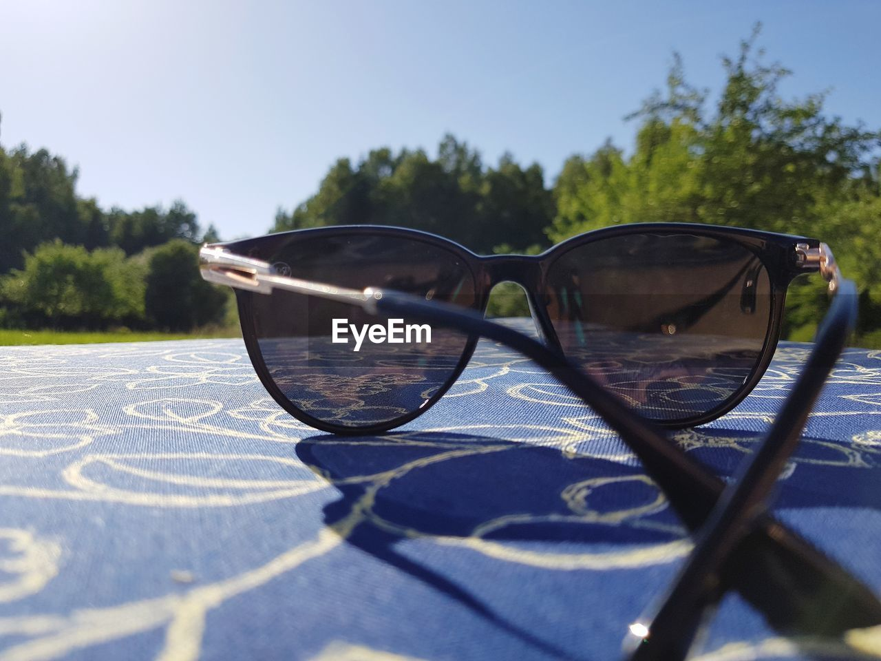 glasses, sunglasses, sunlight, nature, day, eyeglasses, close-up, tree, sky, fashion, plant, personal accessory, selective focus, no people, outdoors, glass - material, shadow, leisure activity, focus on foreground, blue, eyewear, surface level