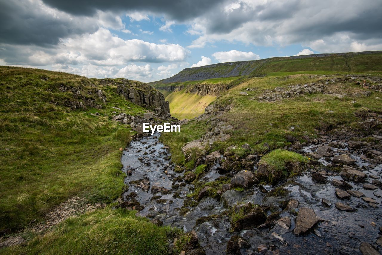 cloud - sky, sky, scenics - nature, beauty in nature, rock, water, tranquility, nature, tranquil scene, environment, no people, rock - object, solid, non-urban scene, landscape, day, land, grass, plant, outdoors, stream - flowing water, flowing water, flowing